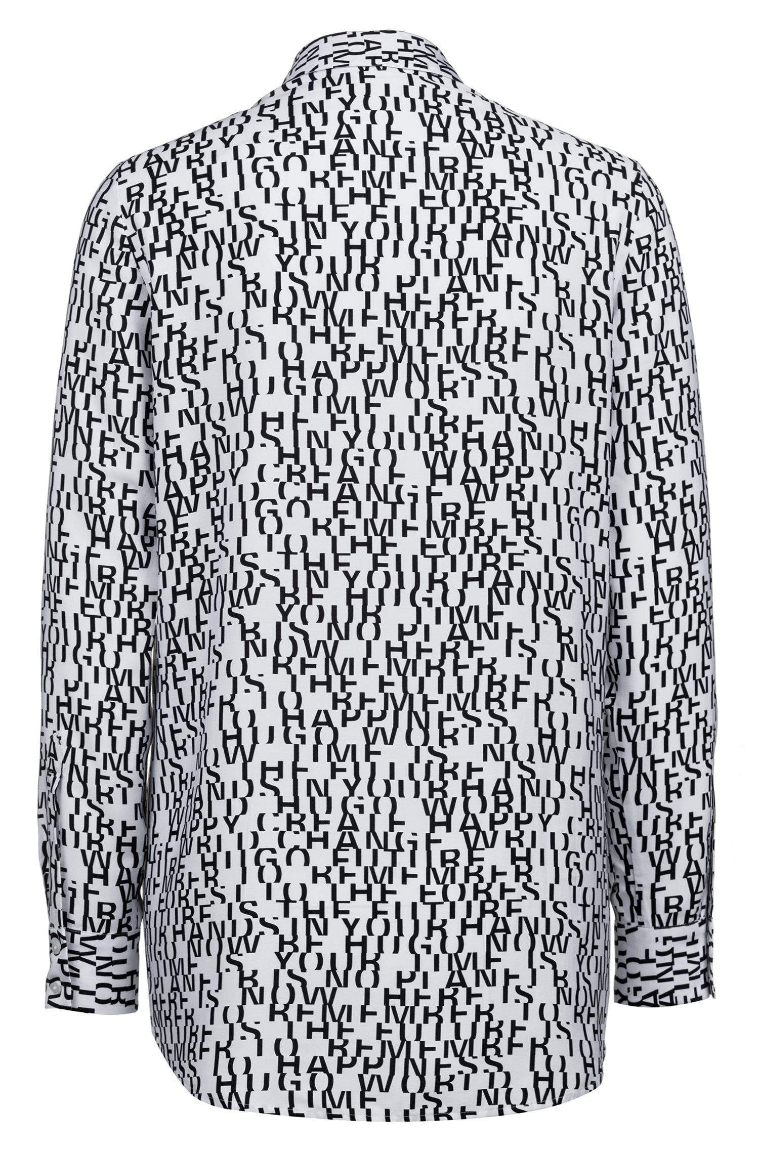 Regular-Fit Bluse mit Slogan-Print, Gemustert