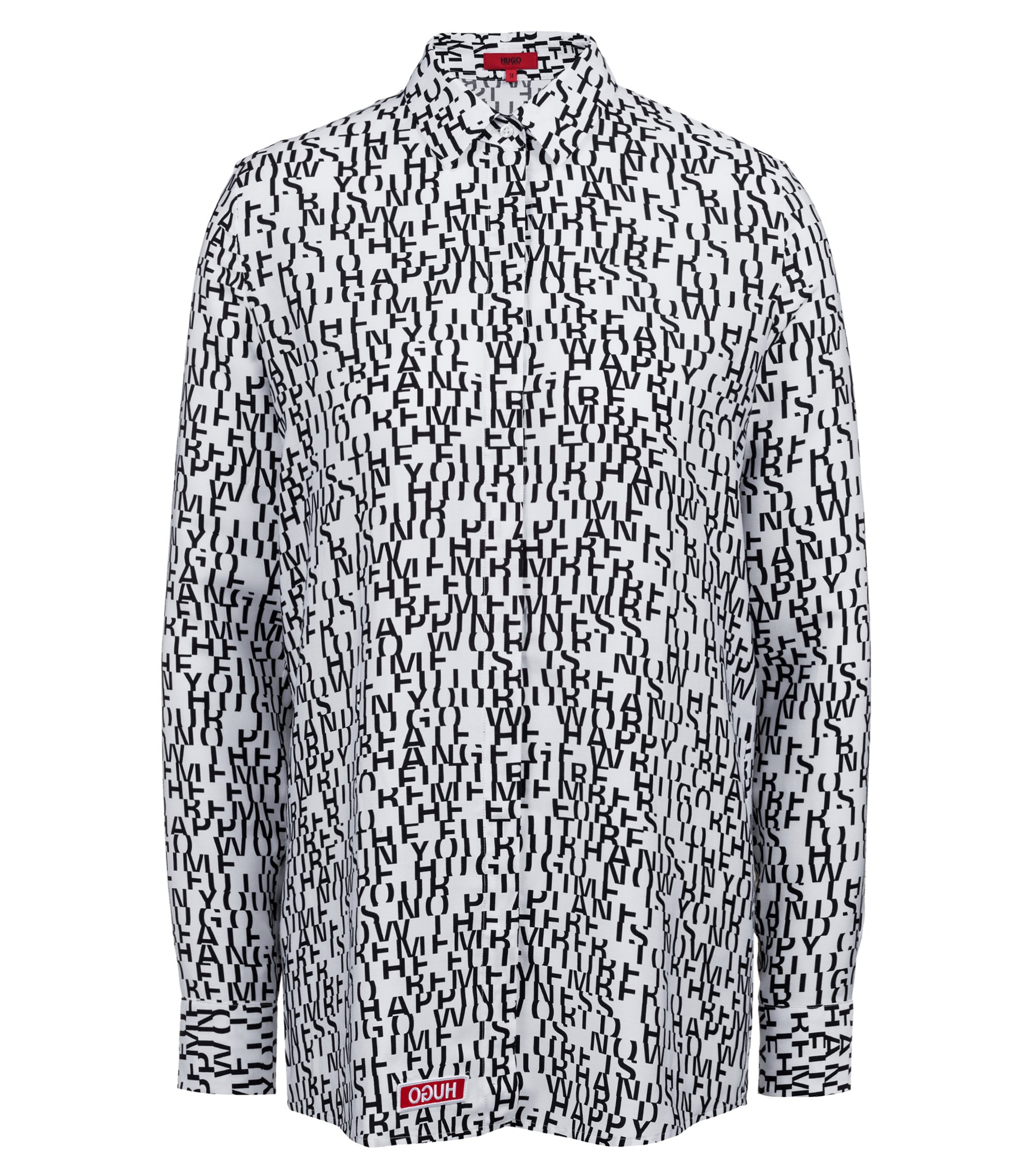 Regular-fit shirt-style blouse with slogan print, Patterned