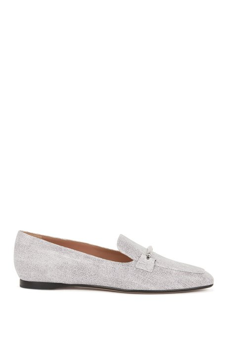Italian-made loafers with printed calf-leather uppers, Open White