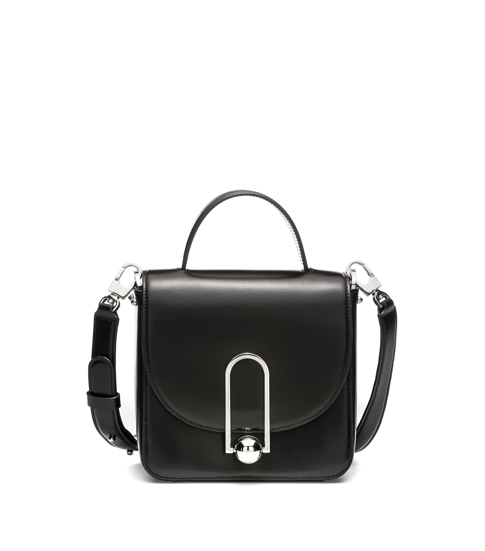 Leather bag with detachable strap and signature clasp, Black