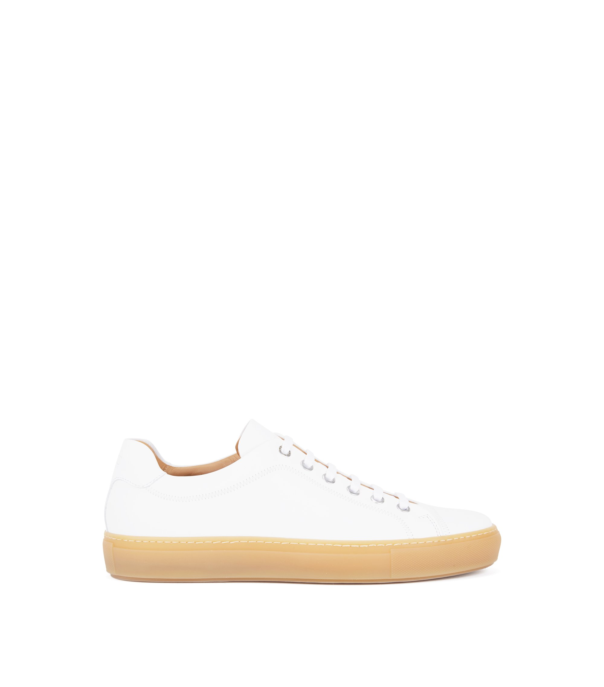 Rubber-sole trainers in full-grain calf leather, White