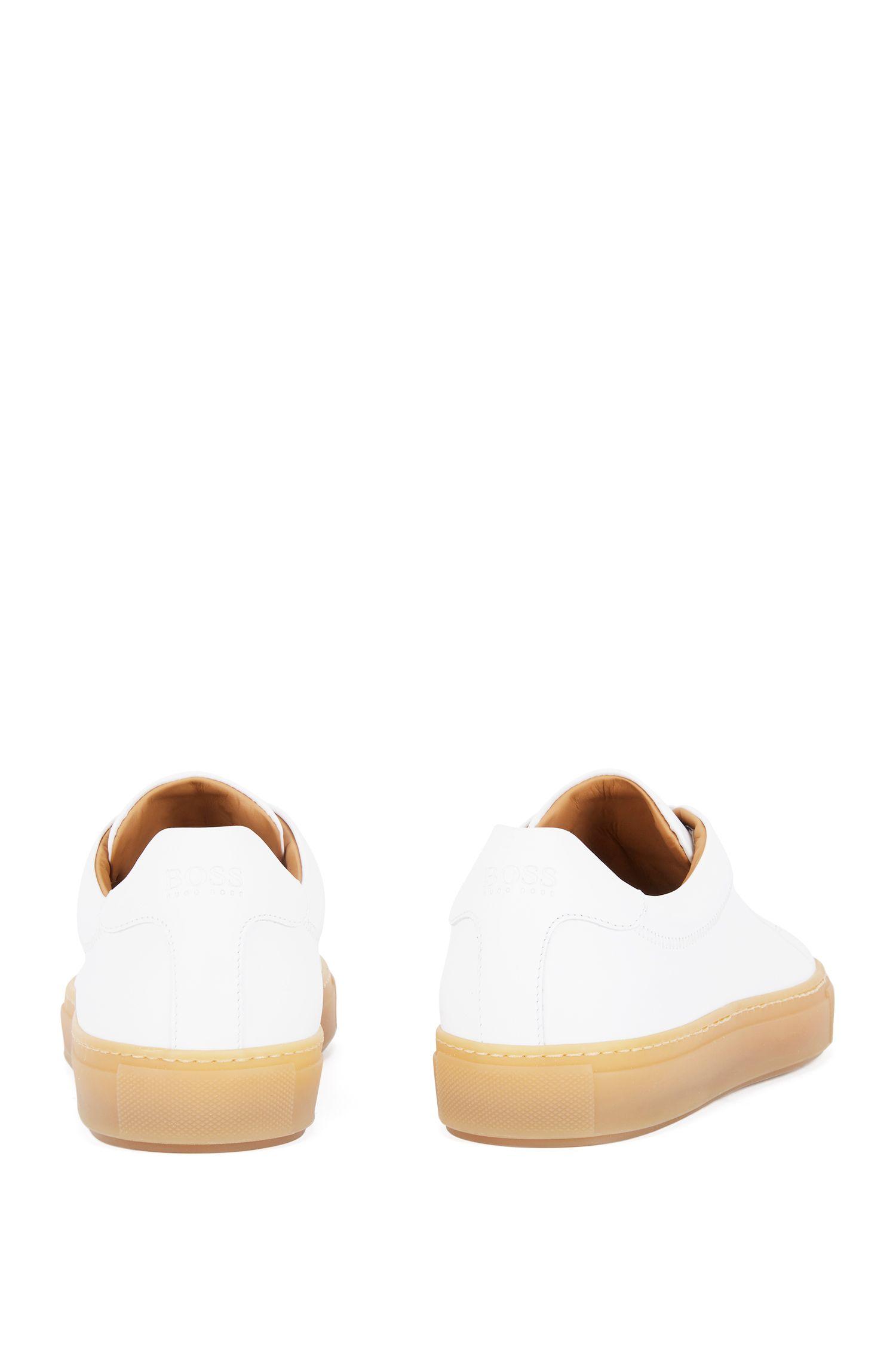 Rubber-sole trainers in full-grain calf leather, White