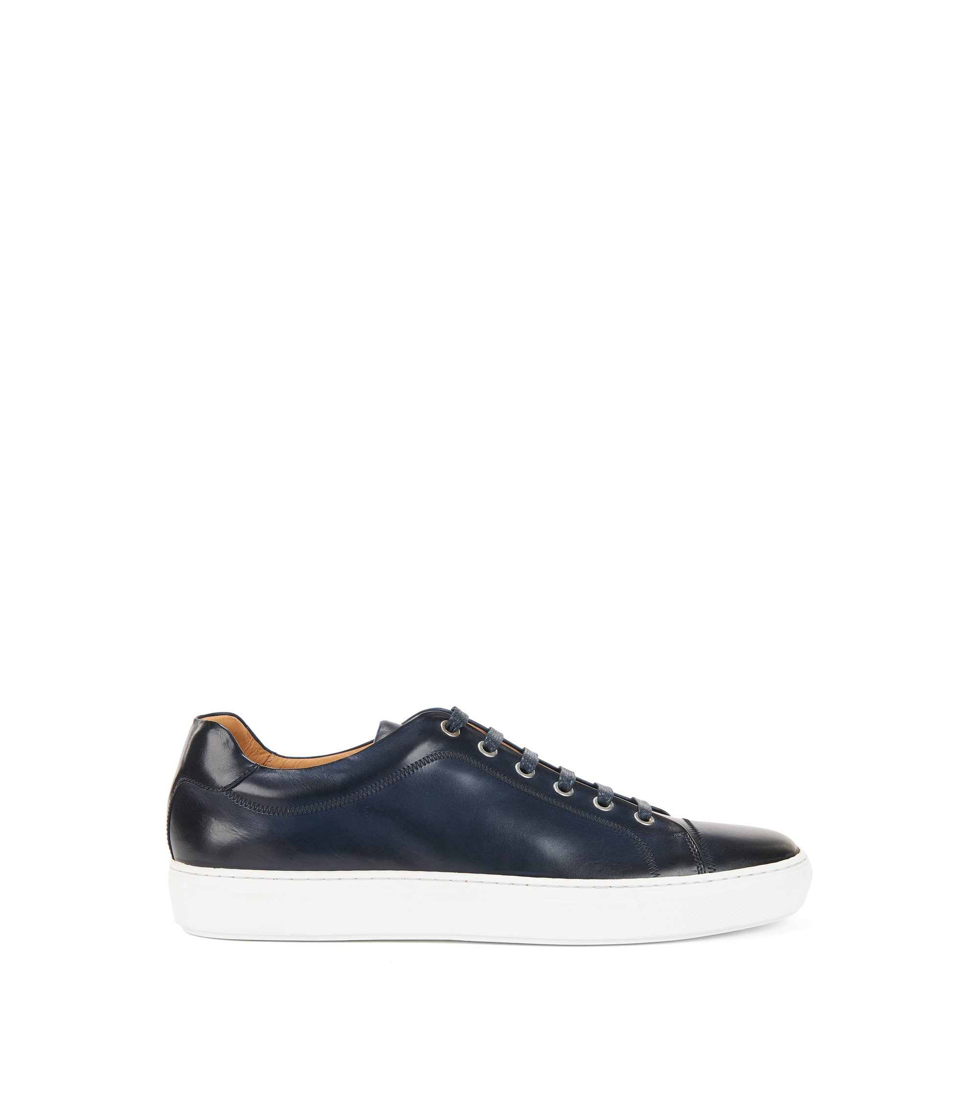 Rubber-sole trainers in full-grain calf leather, Dark Blue