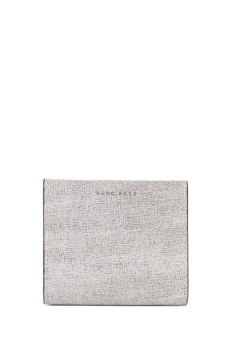 Compact wallet in printed Italian leather, Open White