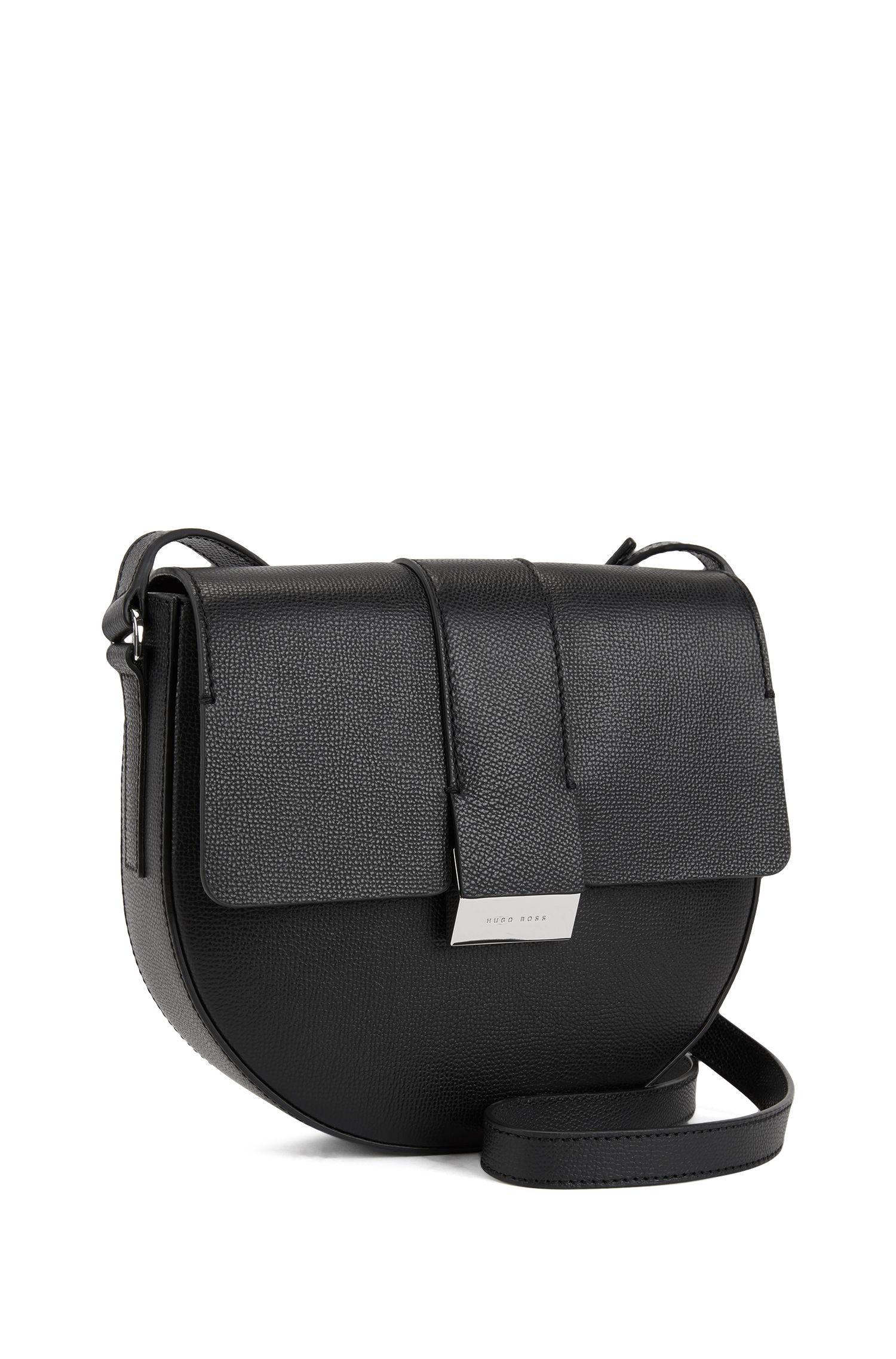 Umhängetasche aus genarbtem italienischem Leder, Schwarz