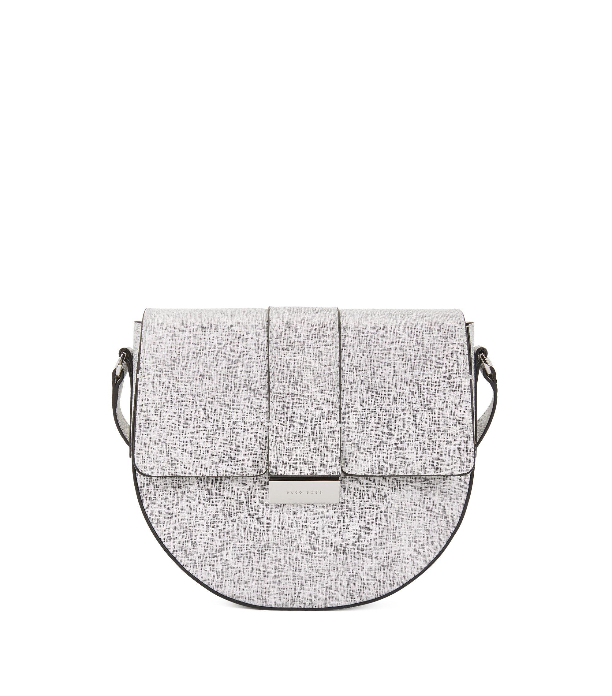 Bolso con solapa de piel italiana con cierre de paladio con logo, Blanco