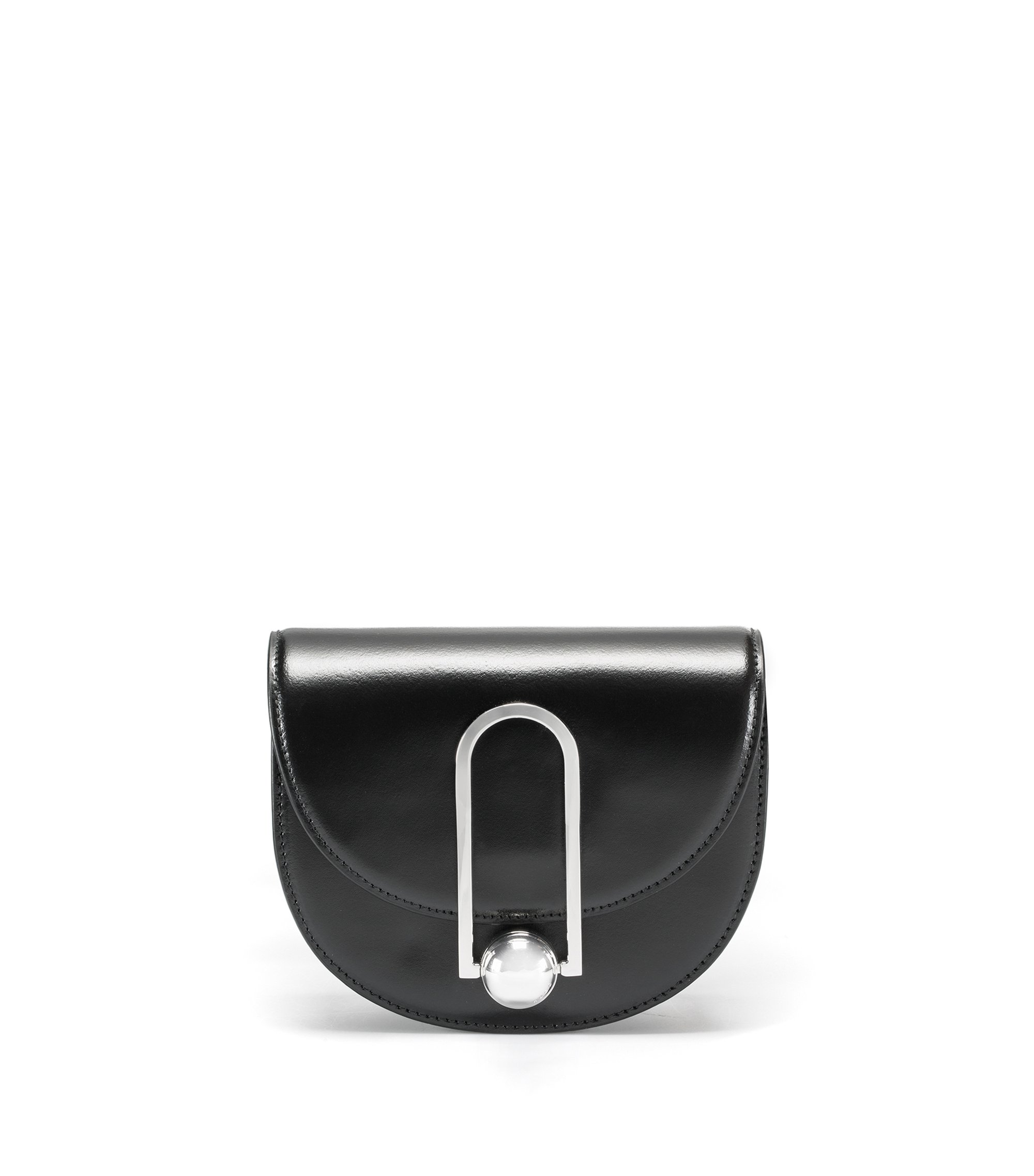 Leather mini bag with polished metal clasp, Black