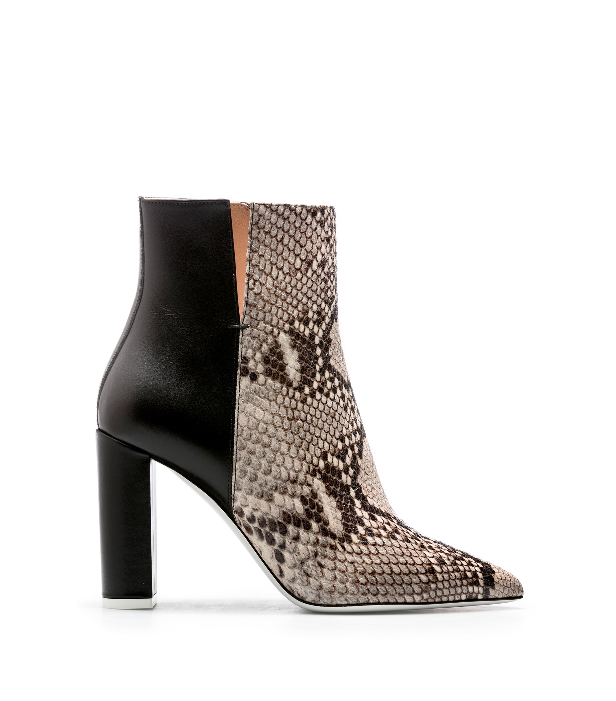 Hybrid split-topline ankle boots in calf leather, Natural