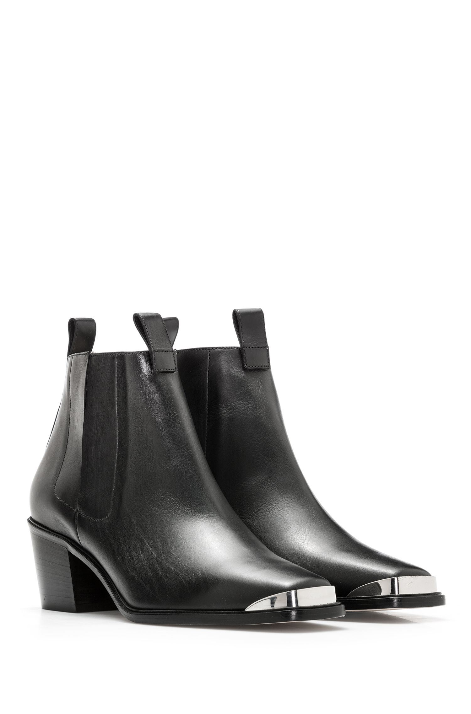 Italian calf-leather Chelsea boots with polished silver trim, Black