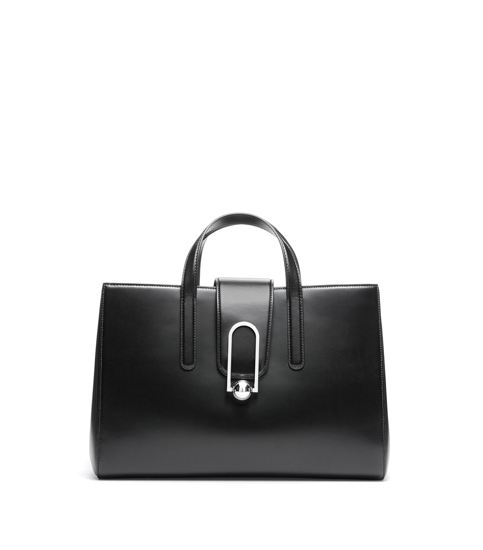 Tote bag in coated leather with embossed logo, Black