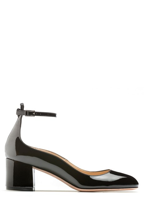Block-heeled pumps in patent leather with ankle strap, Black