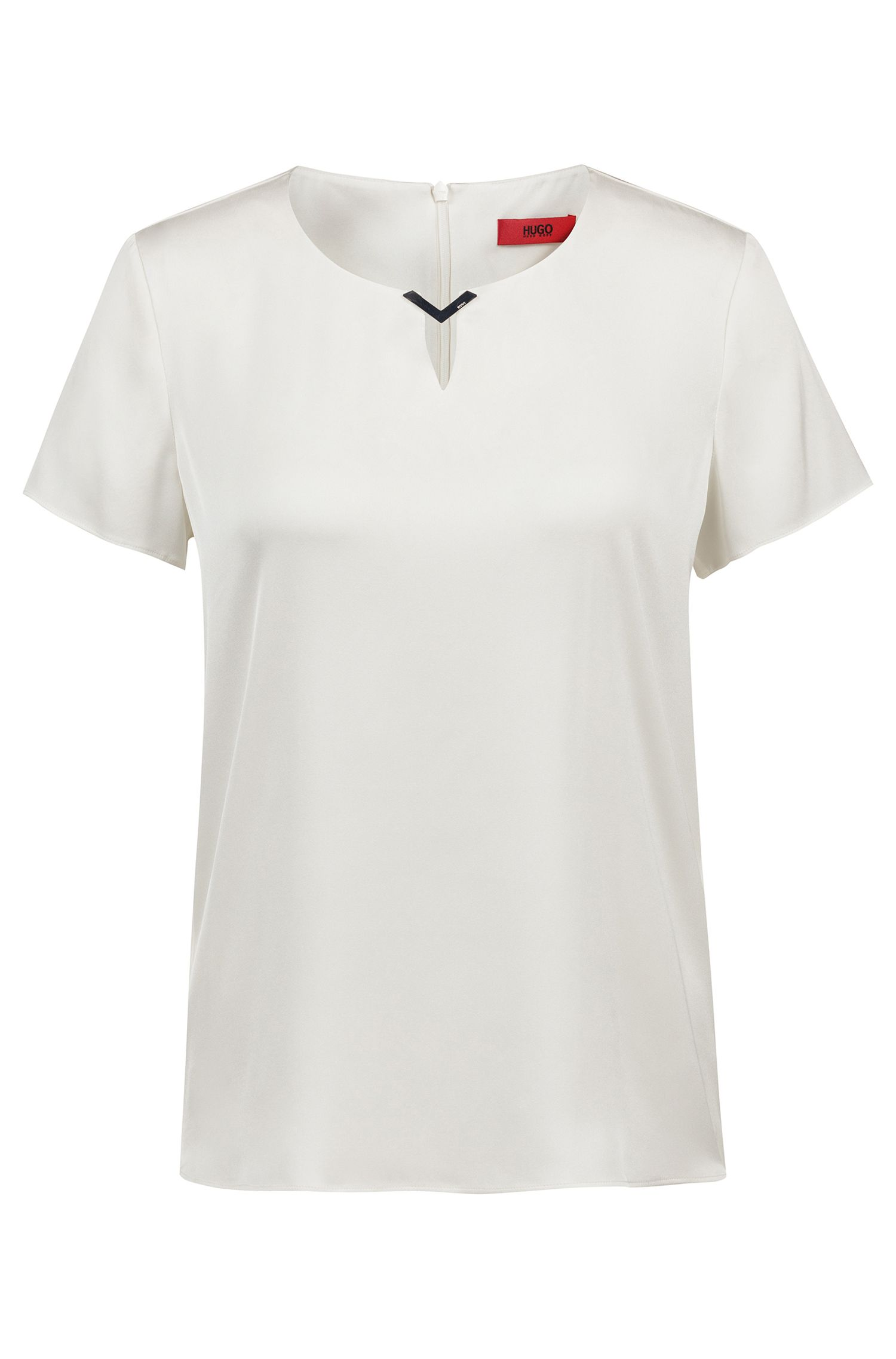 Blusa in seta elasticizzata con guarnizione sulla scollatura con logo inciso, Naturale