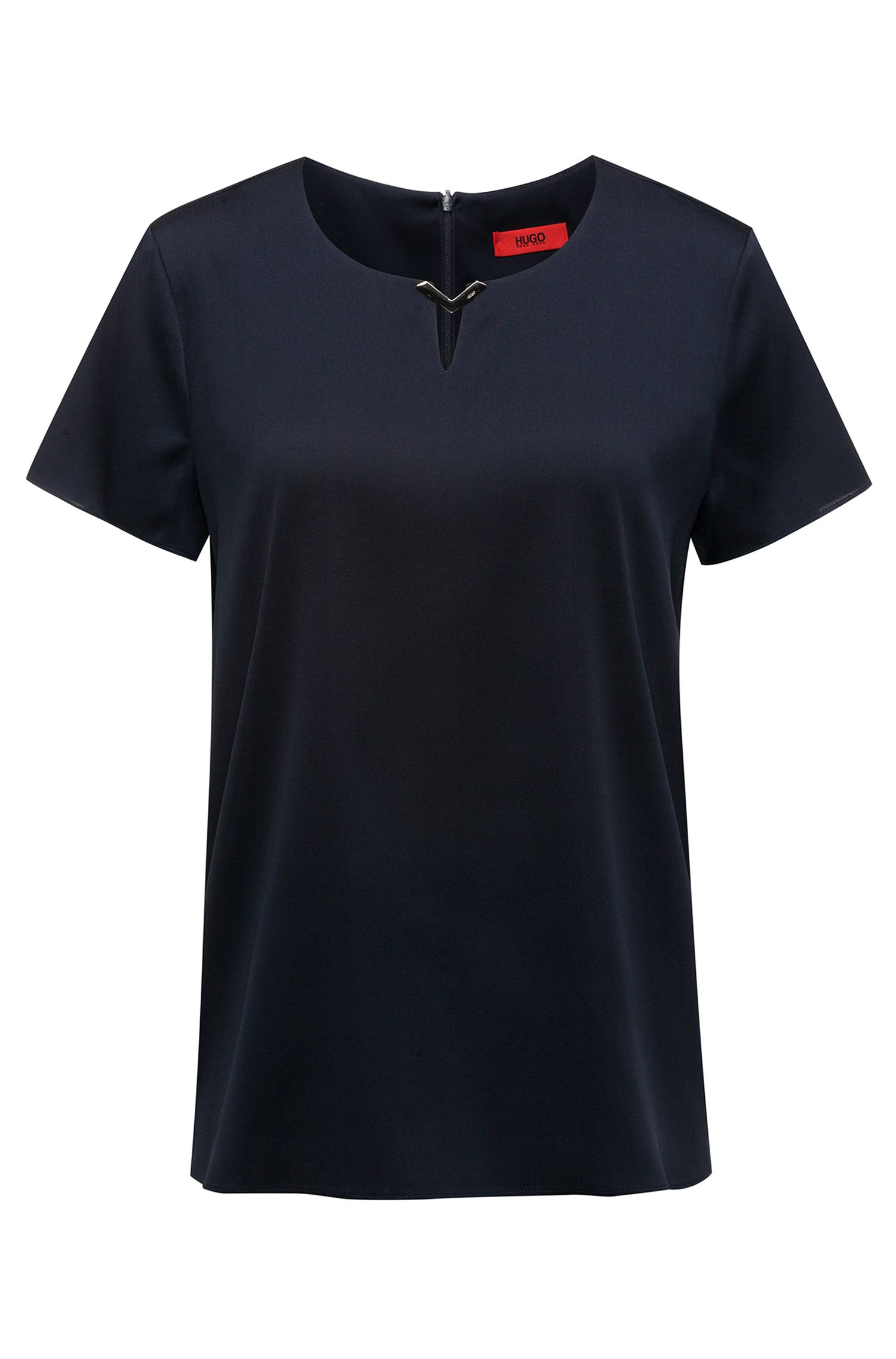 Top en soie stretch avec logo gravé à l'encolure, Bleu foncé