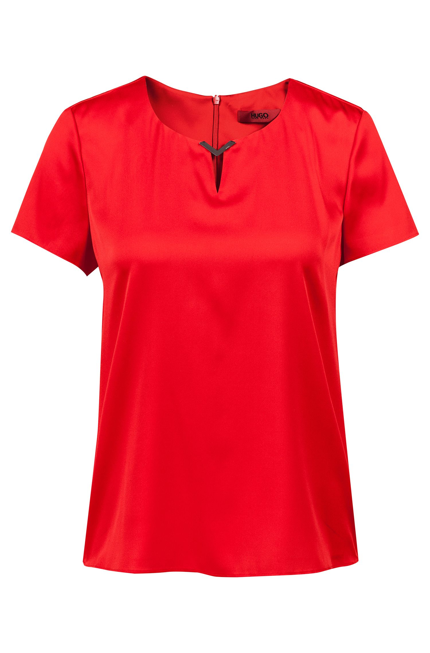 Stretch-silk top with logo-engraved neckline trim, Red