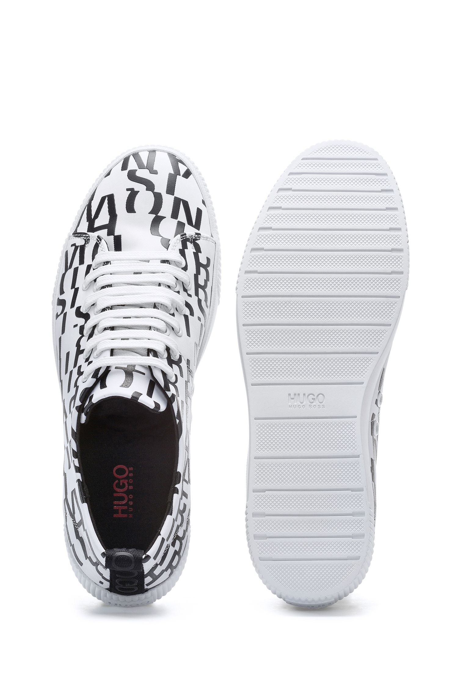 Low-top trainers with printed fabric uppers