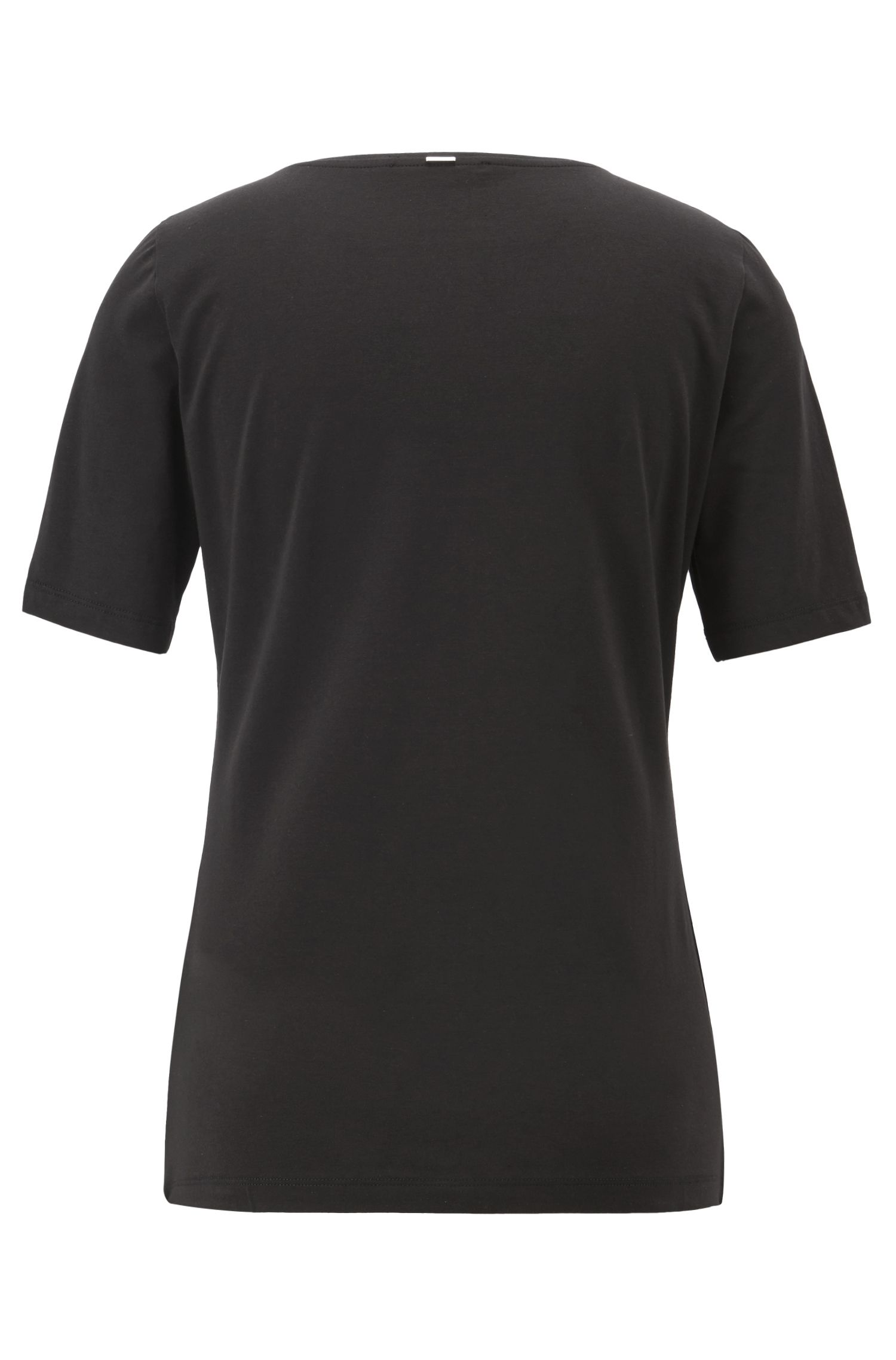 Jersey-Top mit Seidenbesatz am Ausschnitt, Schwarz