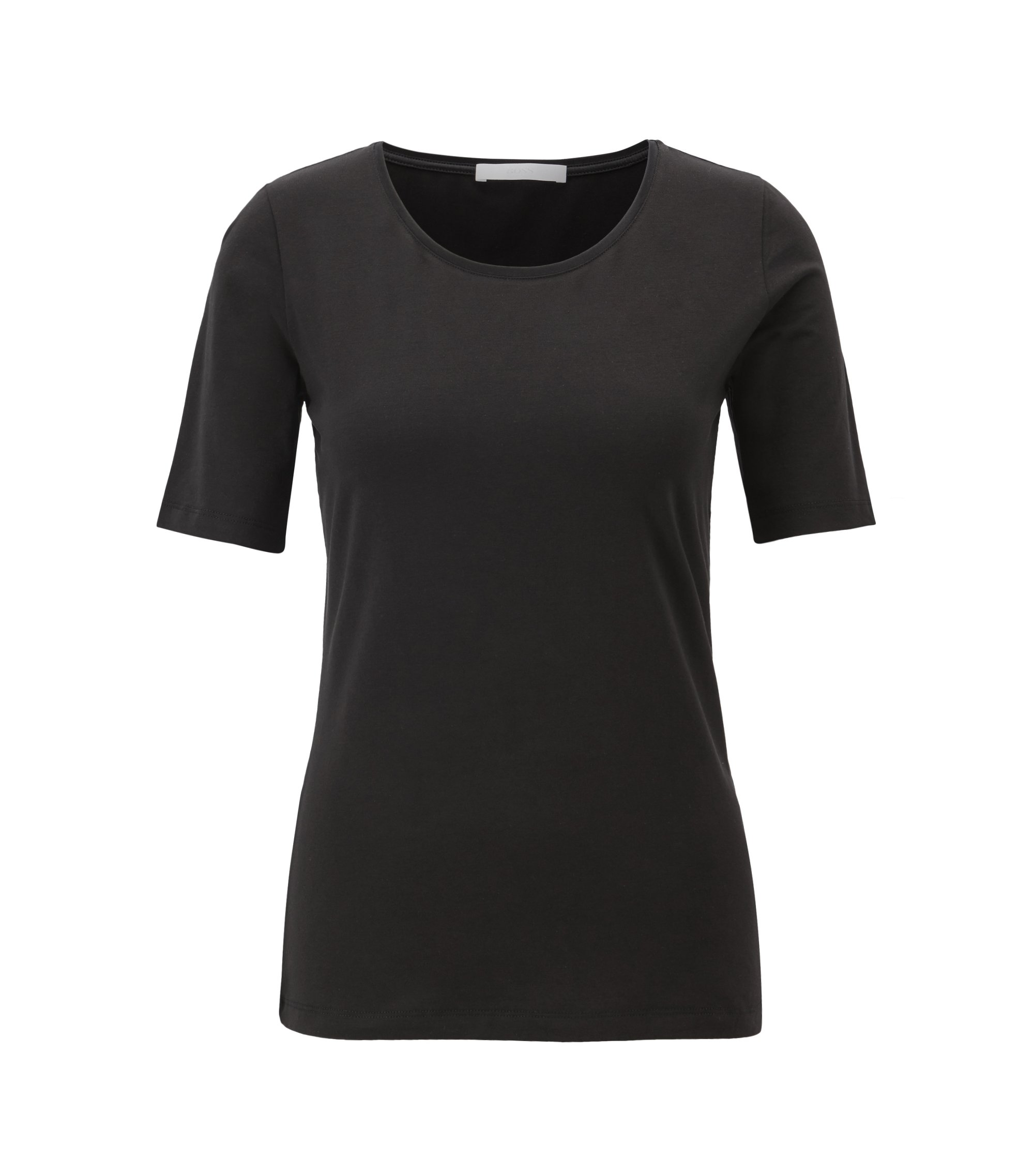 Slim-fit jersey top with silk neckline trim, Black