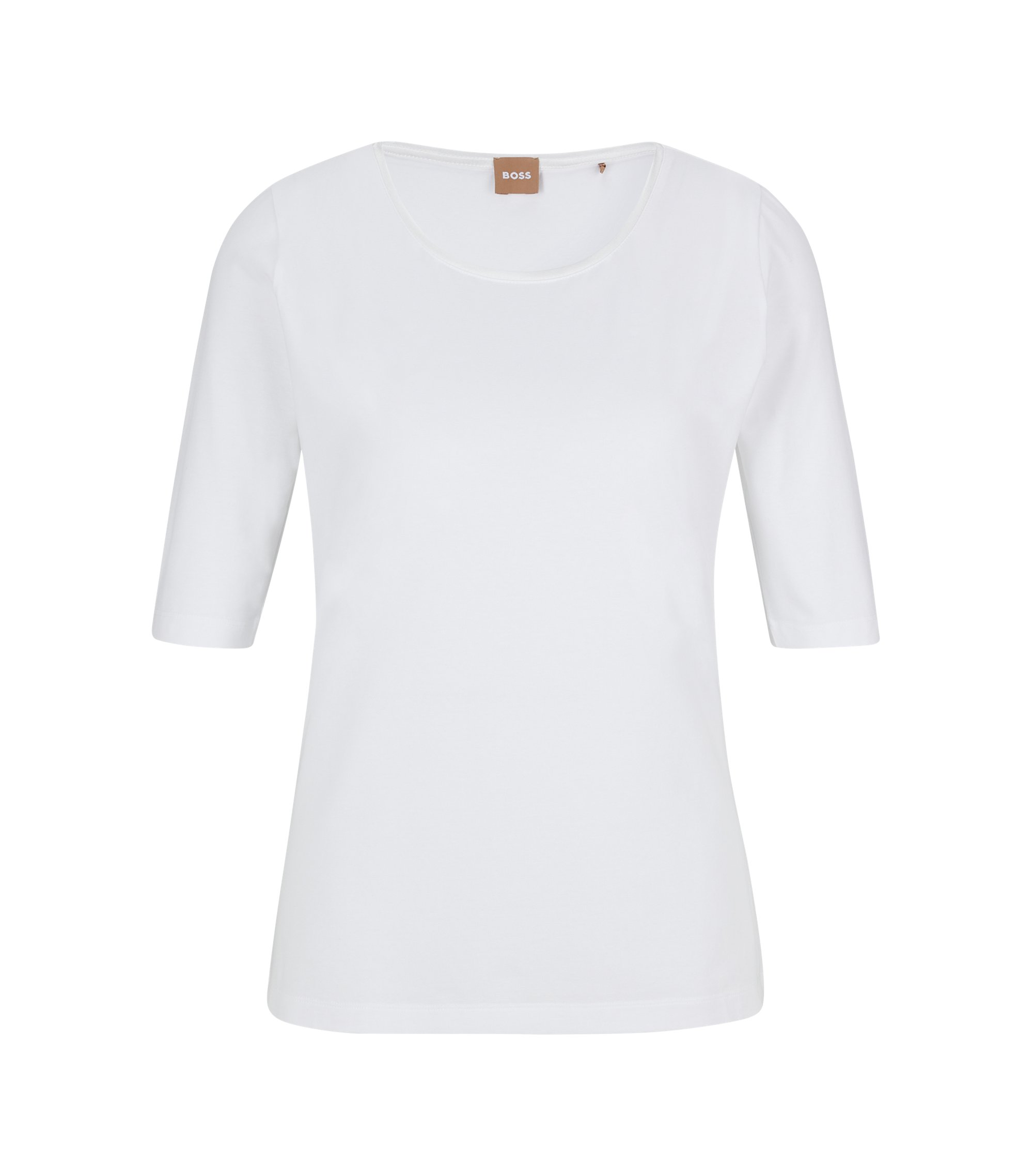 Slim-fit jersey top with silk neckline trim, White