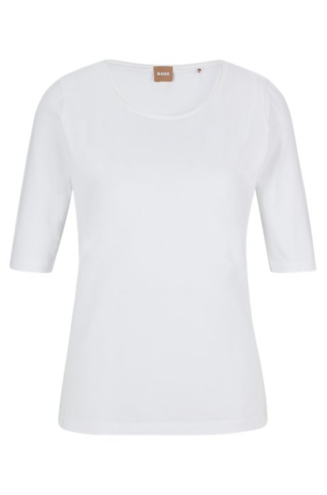 Top de punto elástico slim fit con ribetes de seda, Blanco