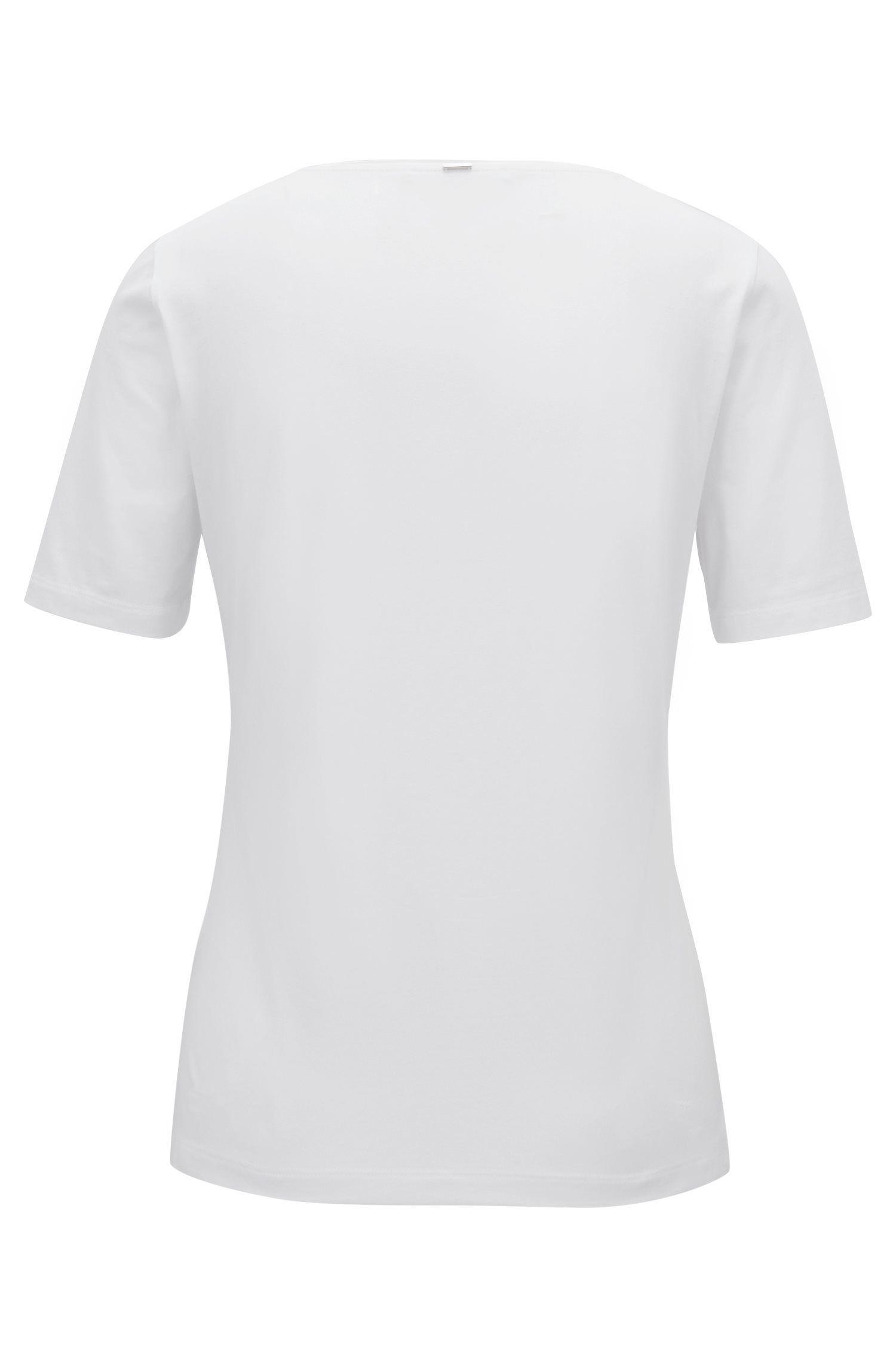 Top Slim Fit en jersey avec encolure ornée de soie, Blanc