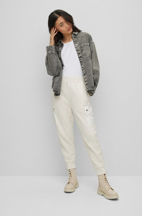 Maglia slim fit in jersey elasticizzato con guarnizione in seta, Bianco