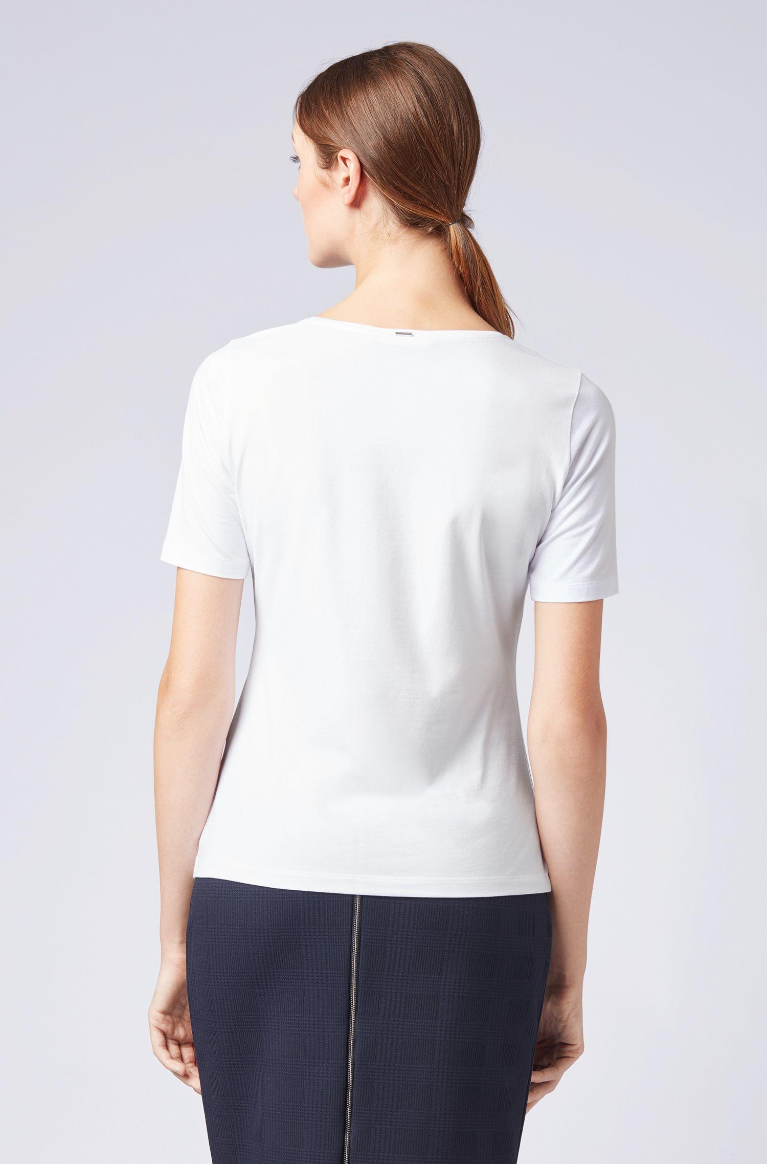 Jersey-Top mit Seidenbesatz am Ausschnitt, Weiß