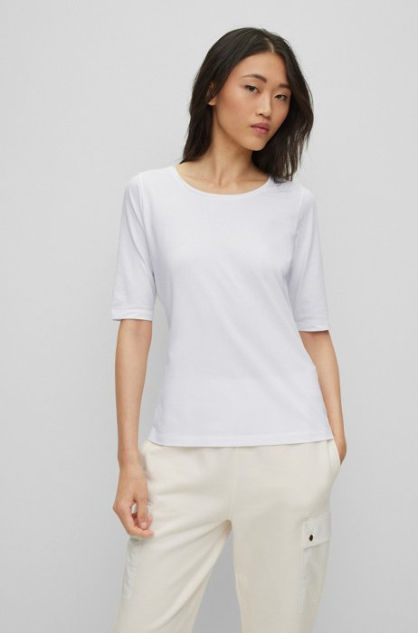 Scoop-neck top in stretch jersey with silk trim, White