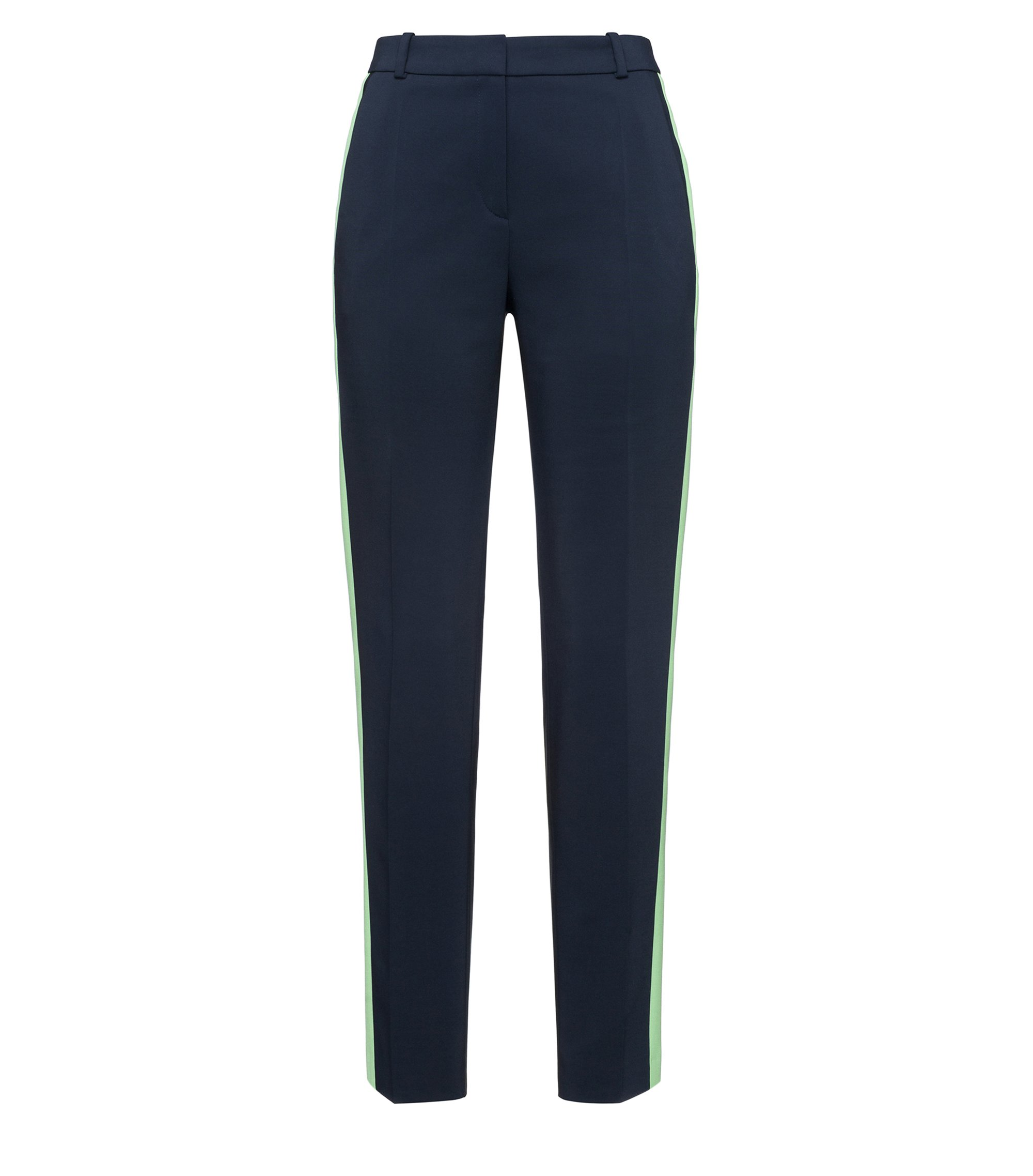 Slim-fit cigarette pants met stretch en contrastbies, Donkerblauw