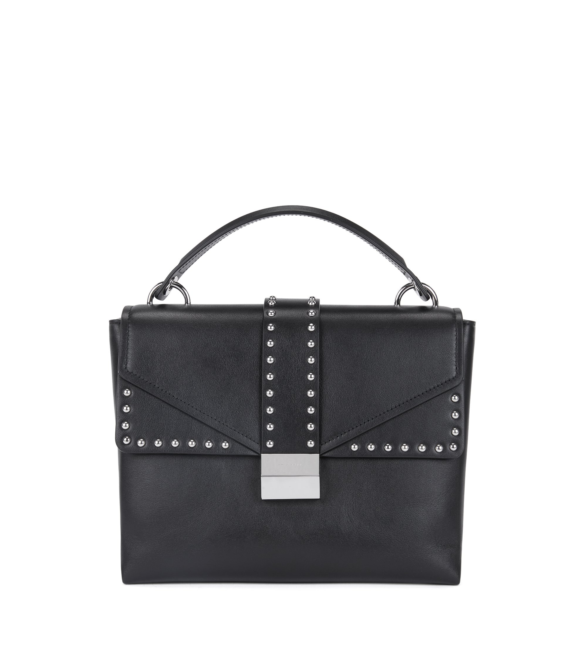 Top-handle bag in smooth Italian leather, Schwarz