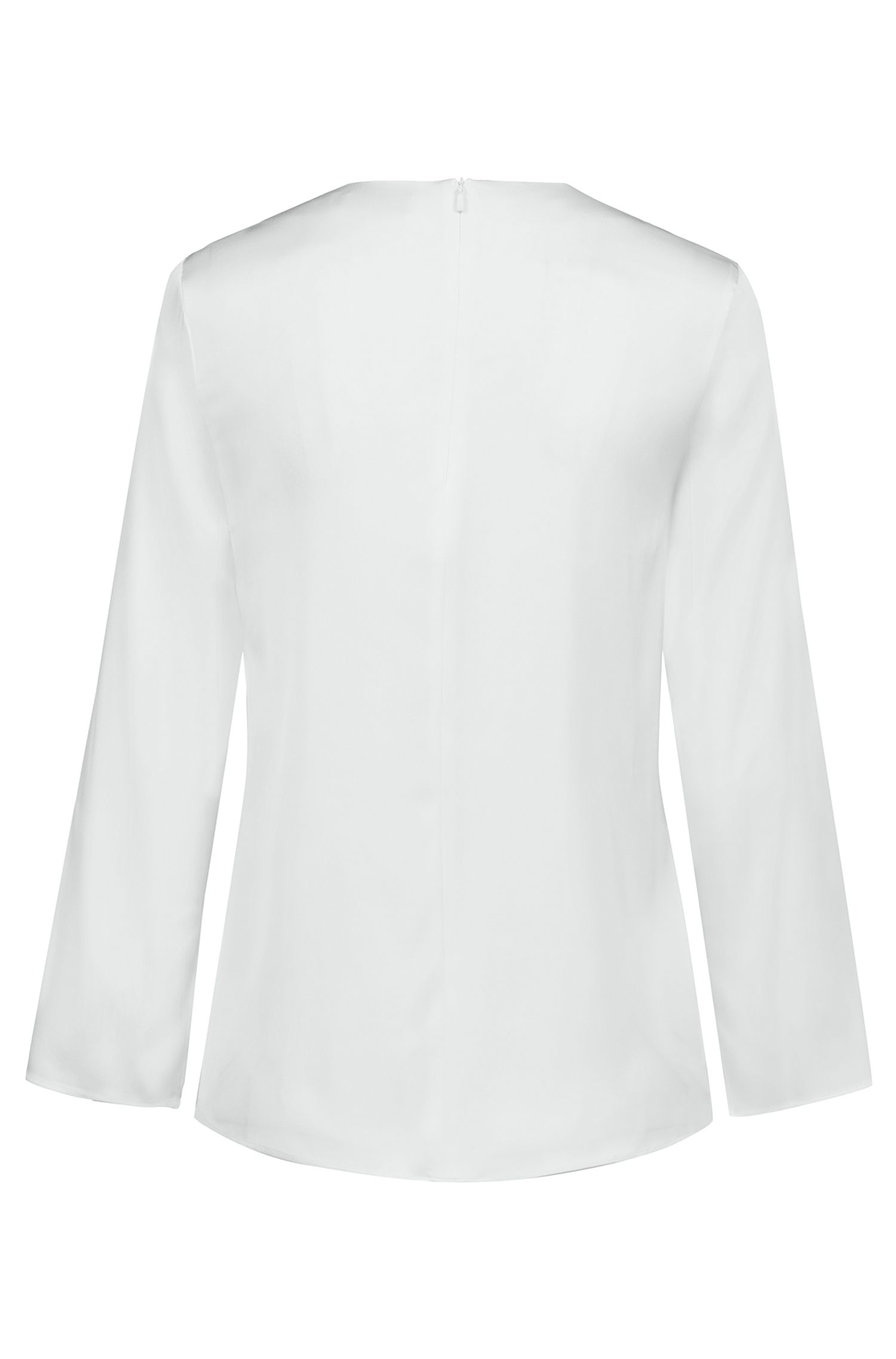 Stretch-silk top with V neckline and draped front, Natural