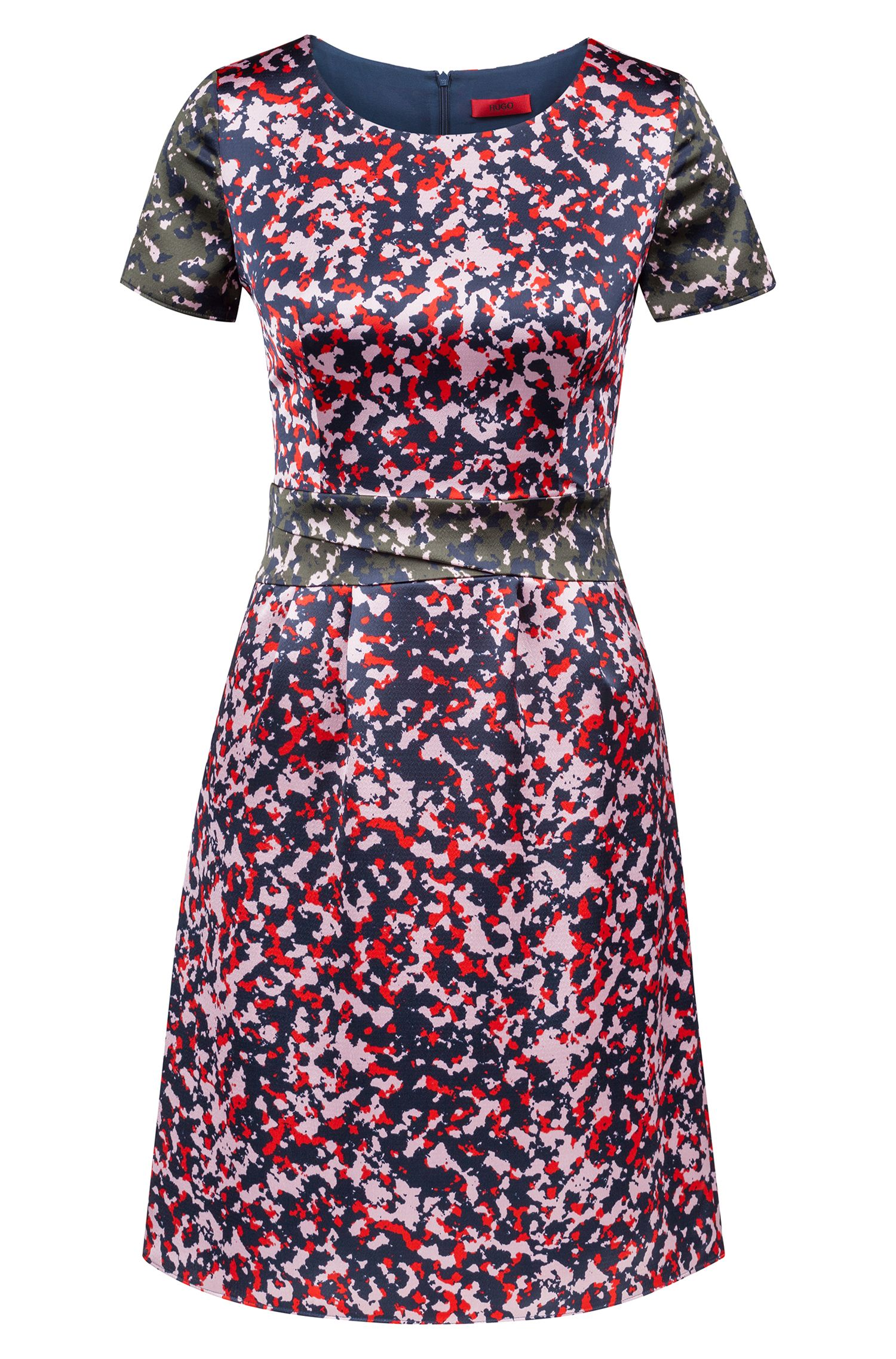 Camouflage-print dress on hammered fabric, Patterned