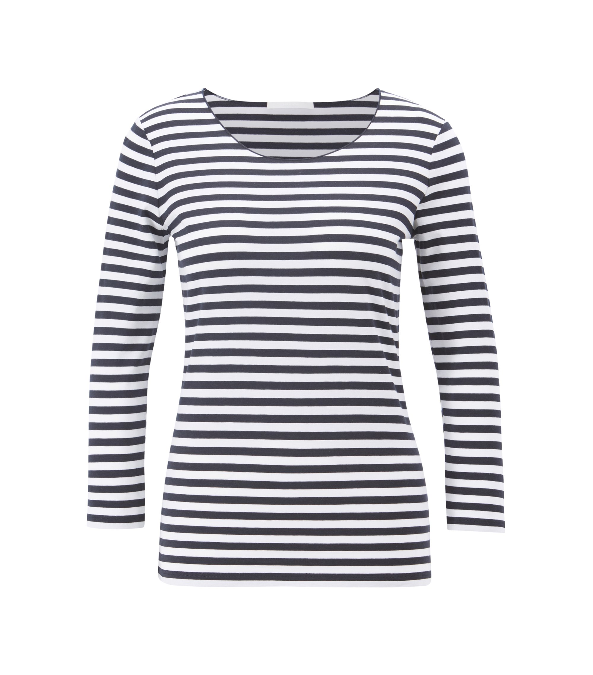Breton-stripe jersey top with overlock-seam neckline, Patterned