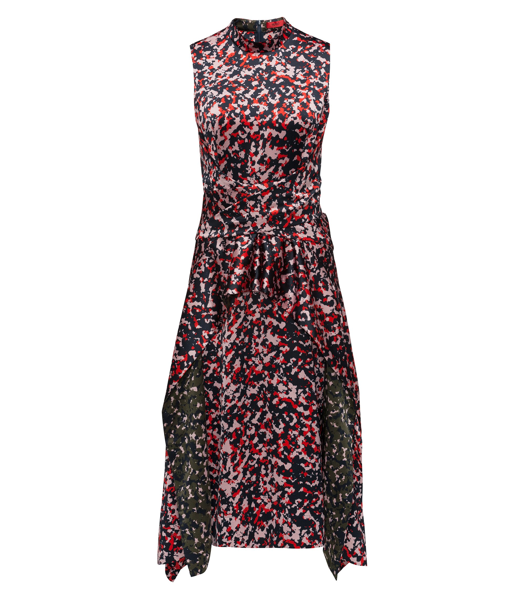 Midi-length dress in camouflage print with knot detail, Patterned