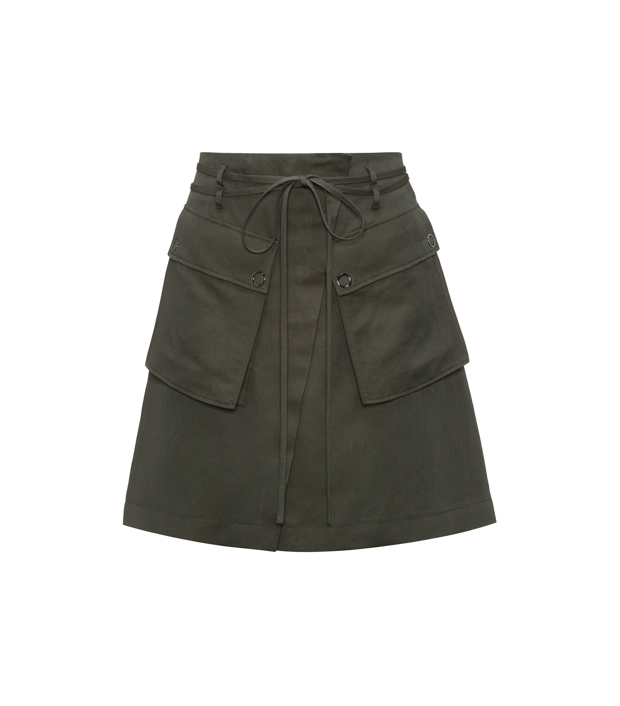 High-waisted mini skirt with cargo pockets, Green