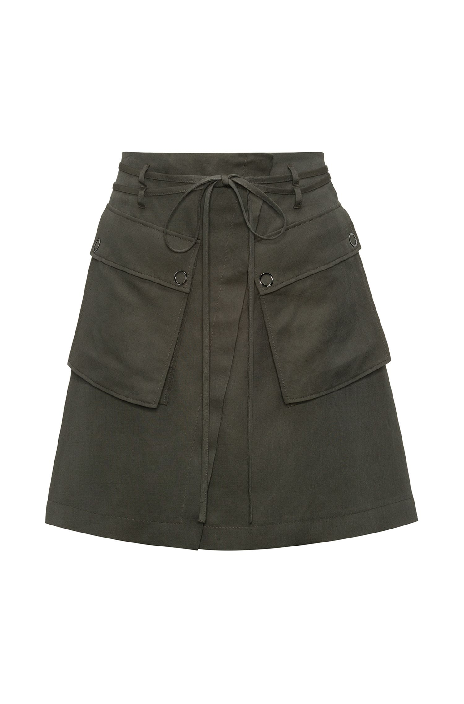 High-waisted mini skirt with cargo pockets