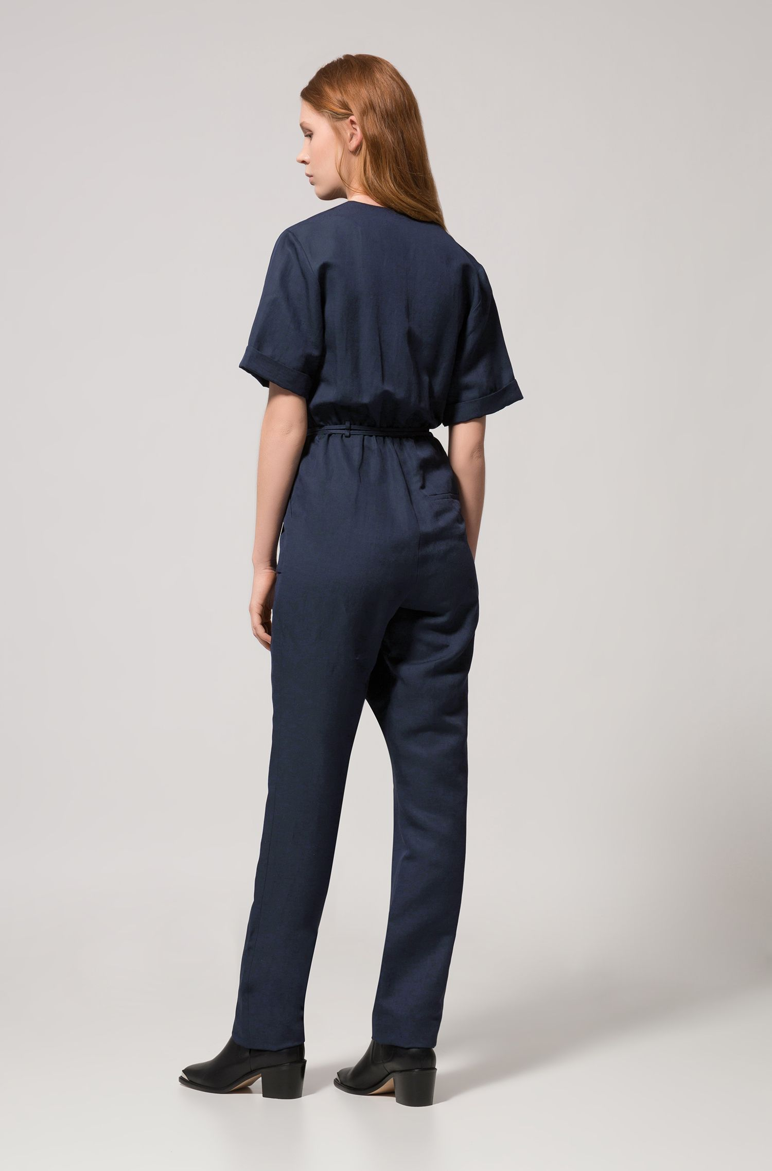 Military-inspired jumpsuit with wrapped V-neck, Dark Blue