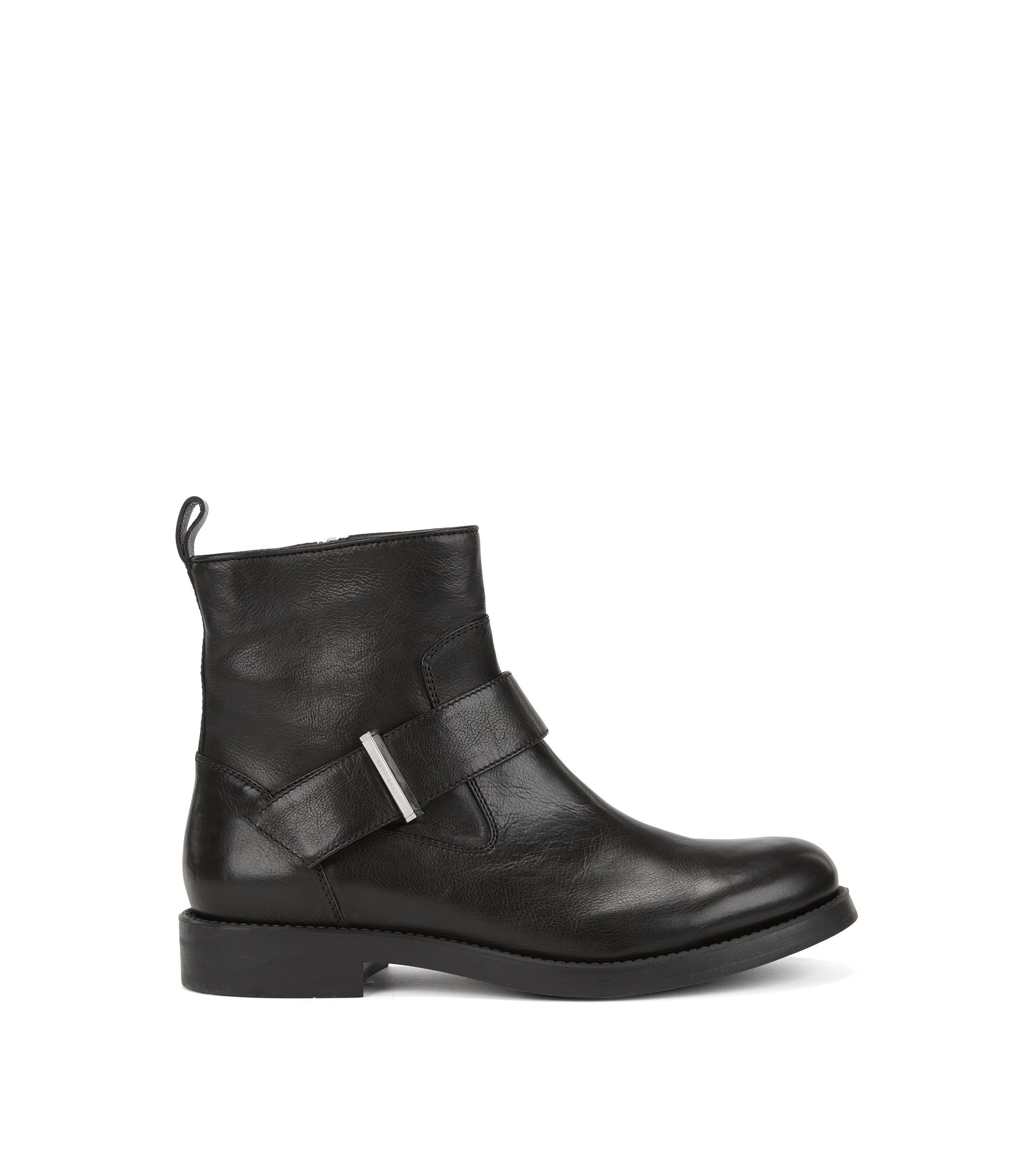Biker-inspired ankle boots in Italian calf leather, Black