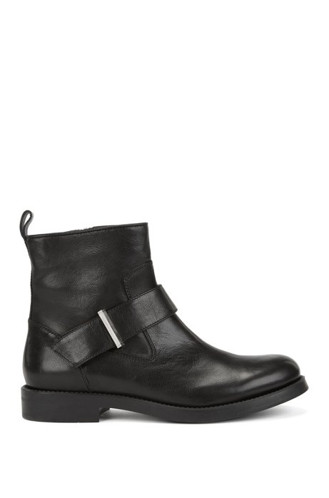 Biker Inspired Ankle Boots In Italian Calf Leather