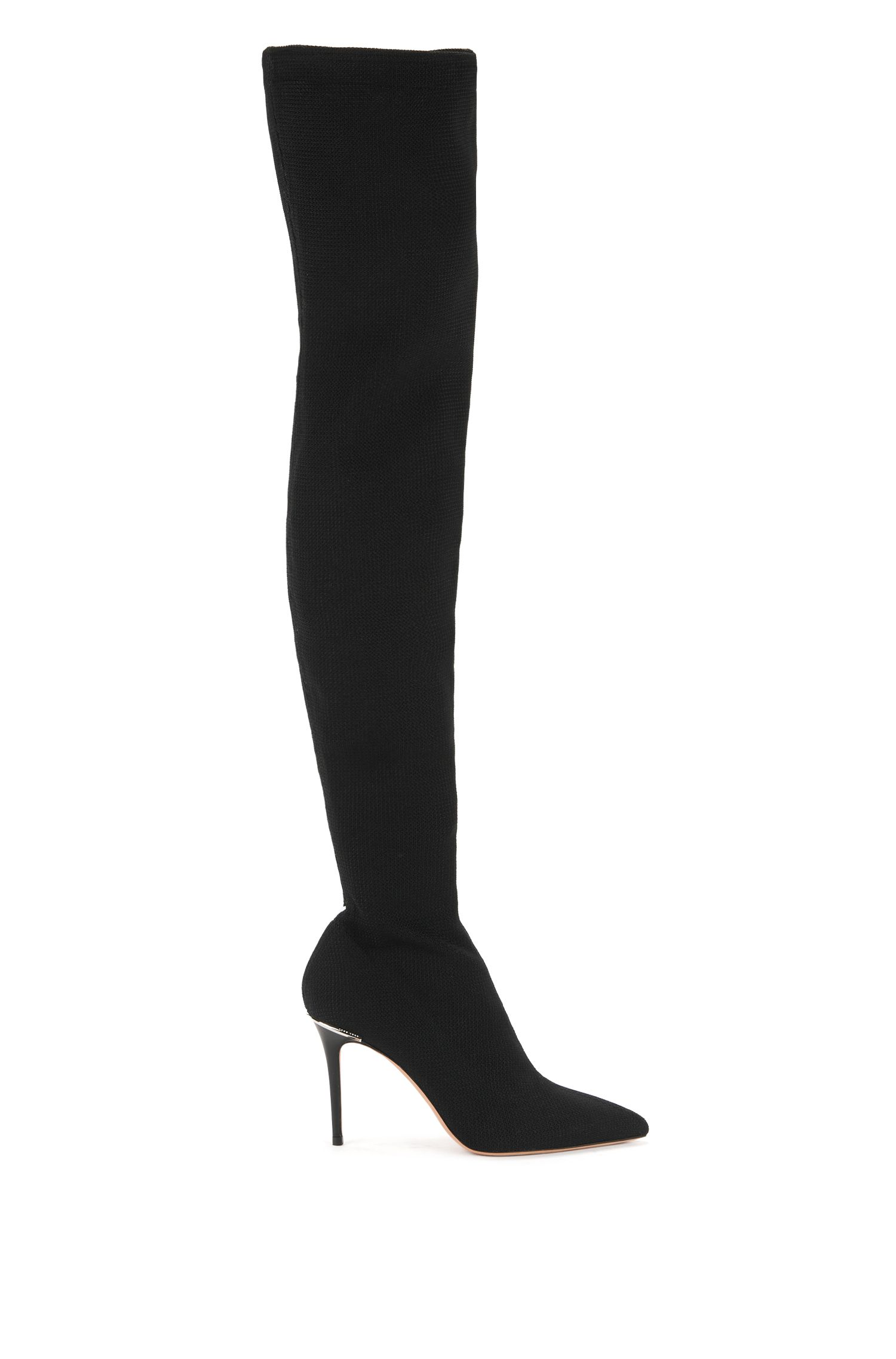 Over-the-knee boots in stretch fabric, Black