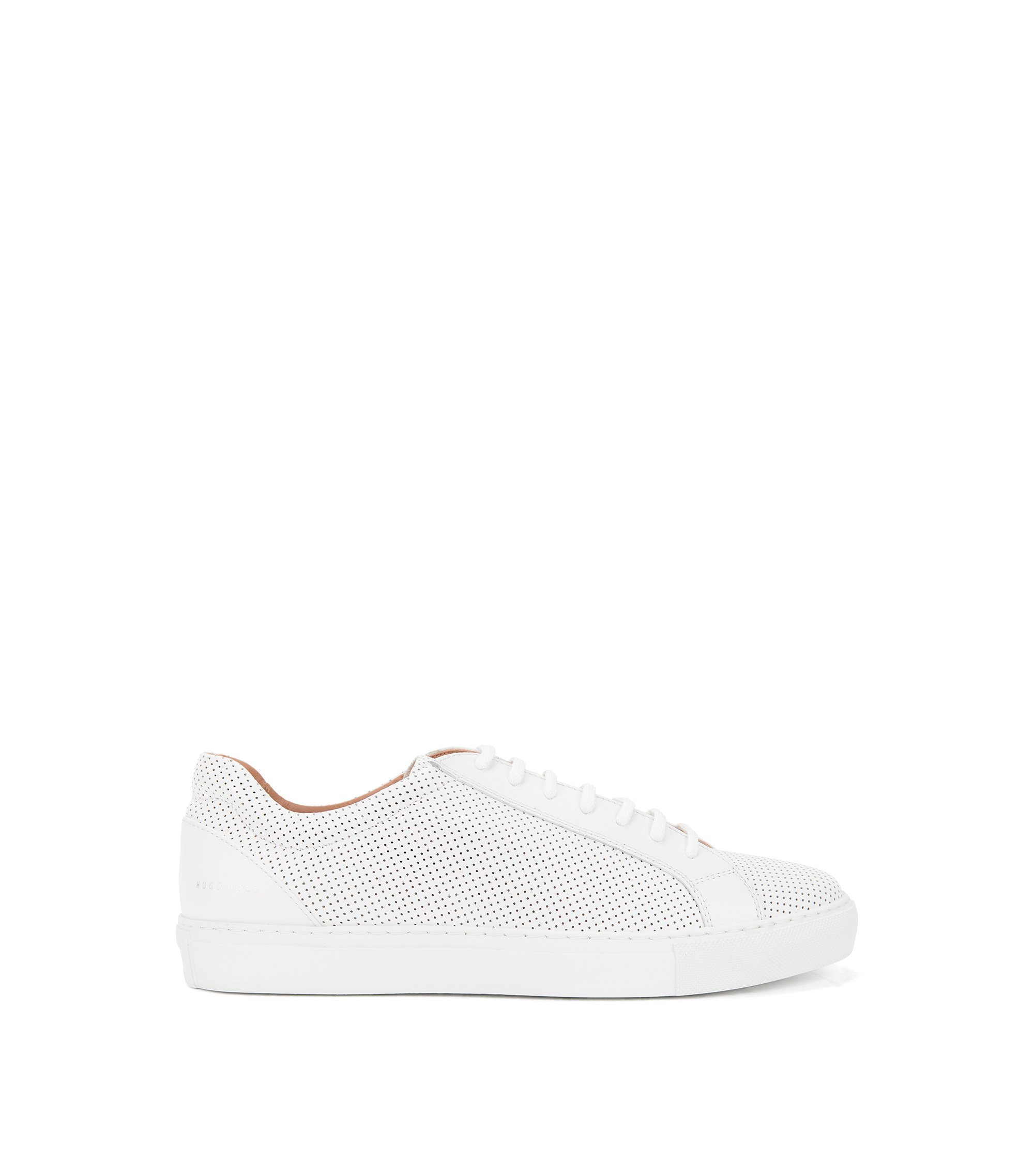 Low-profile trainers in perforated Italian calf leather, White