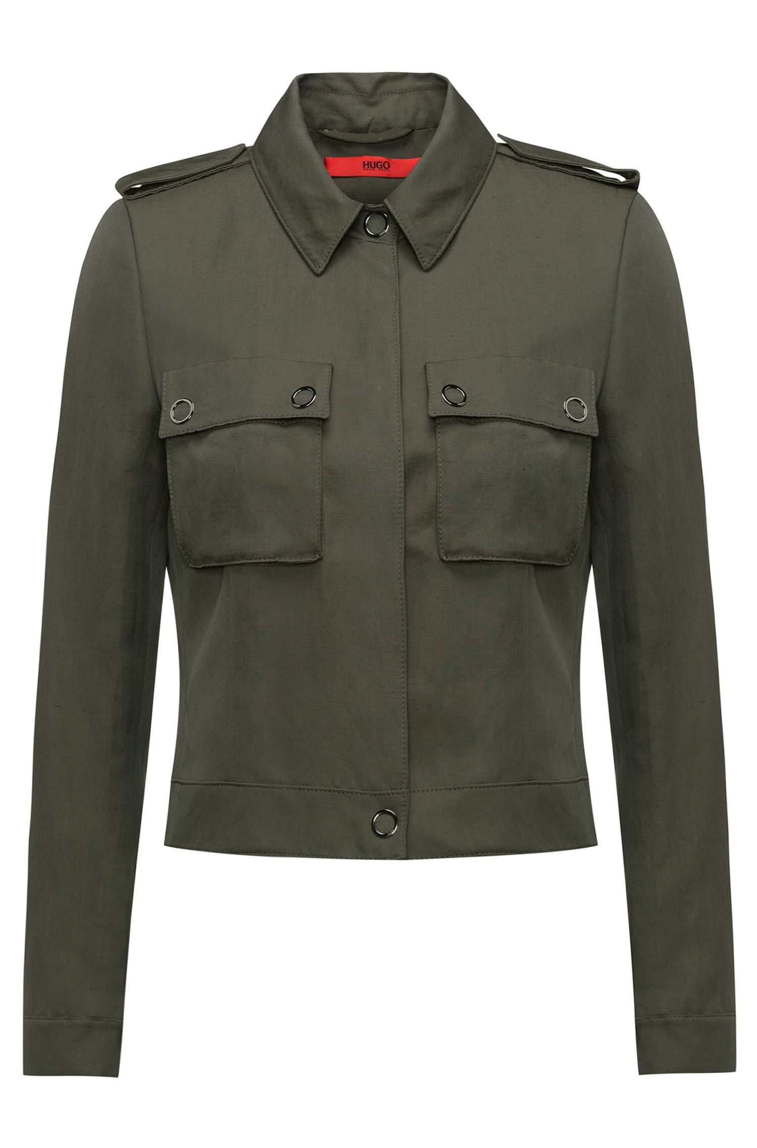 Slim-fit cropped jacket with patch pockets, Green