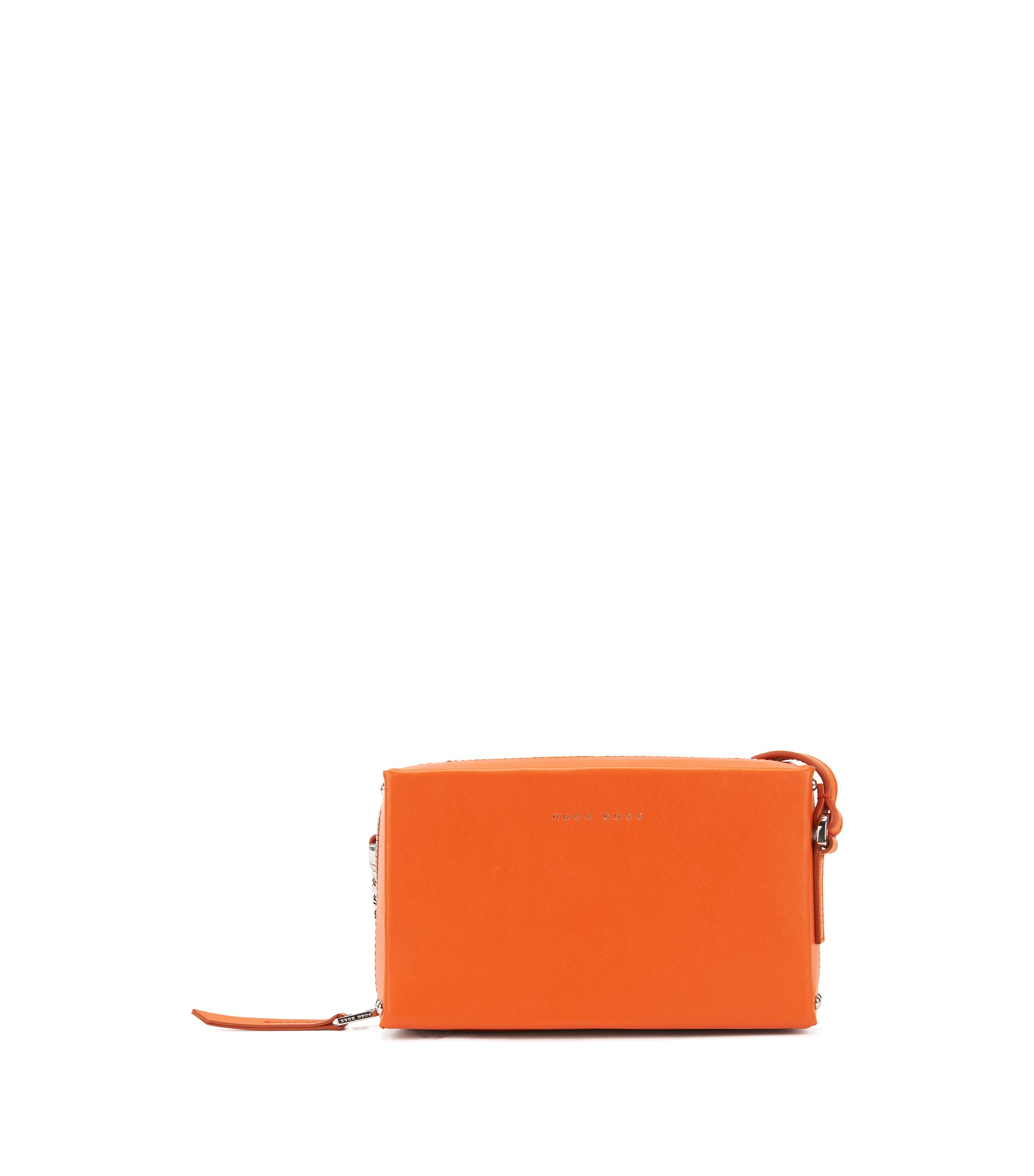 Italian-leather cross-body bag with chain strap, Orange
