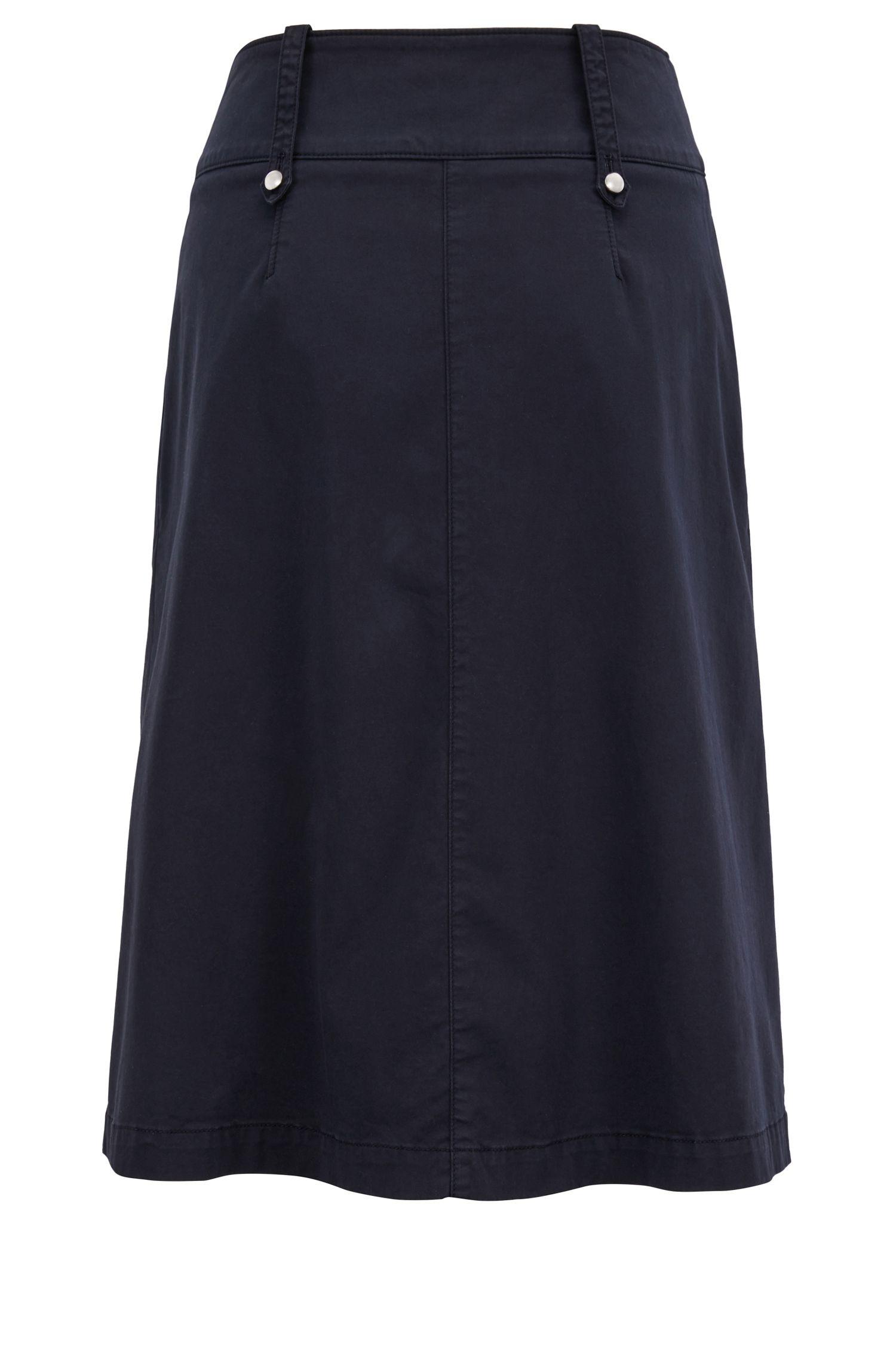 Utility-style midi skirt with decorative buttons