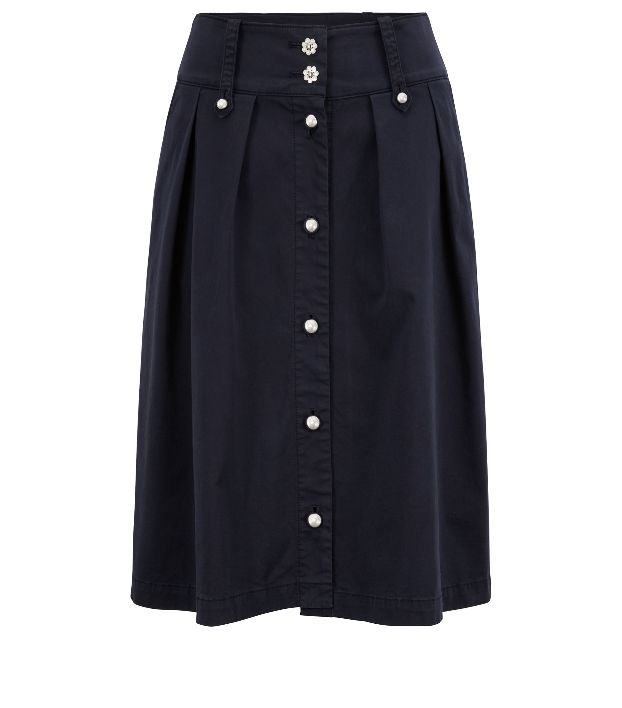 Utility-style midi skirt with decorative buttons, Dark Blue