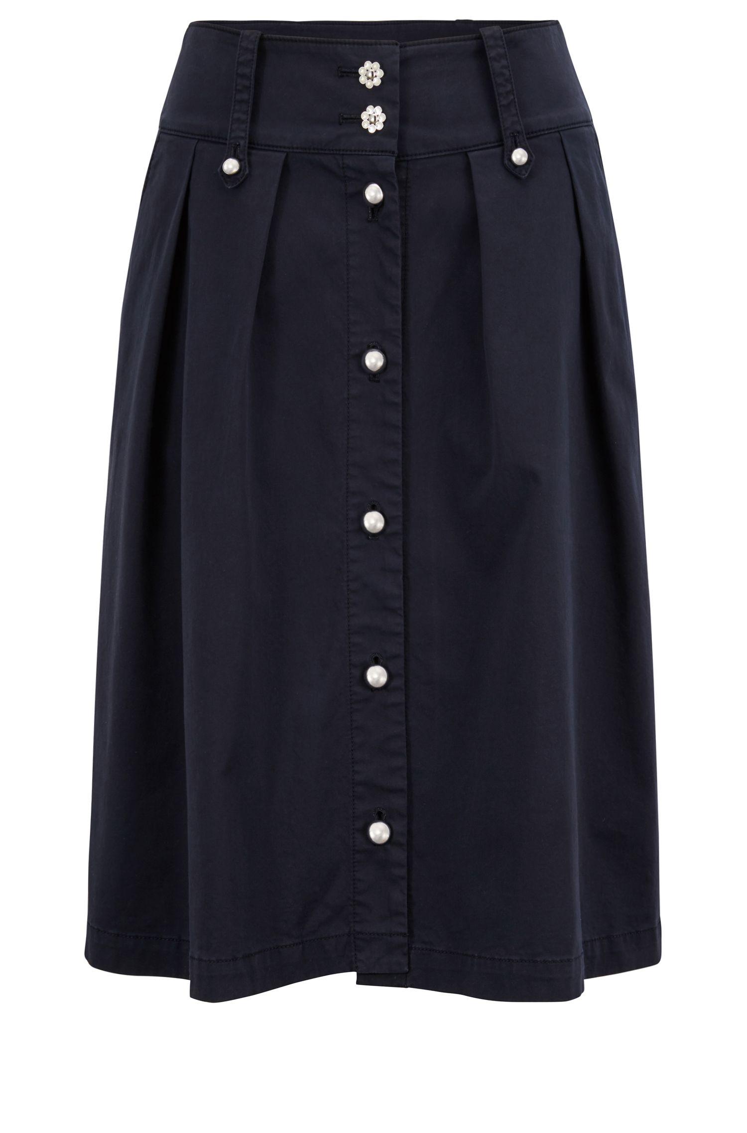 Jupe mi-longue au style utilitaire, à boutons décoratifs, Bleu foncé