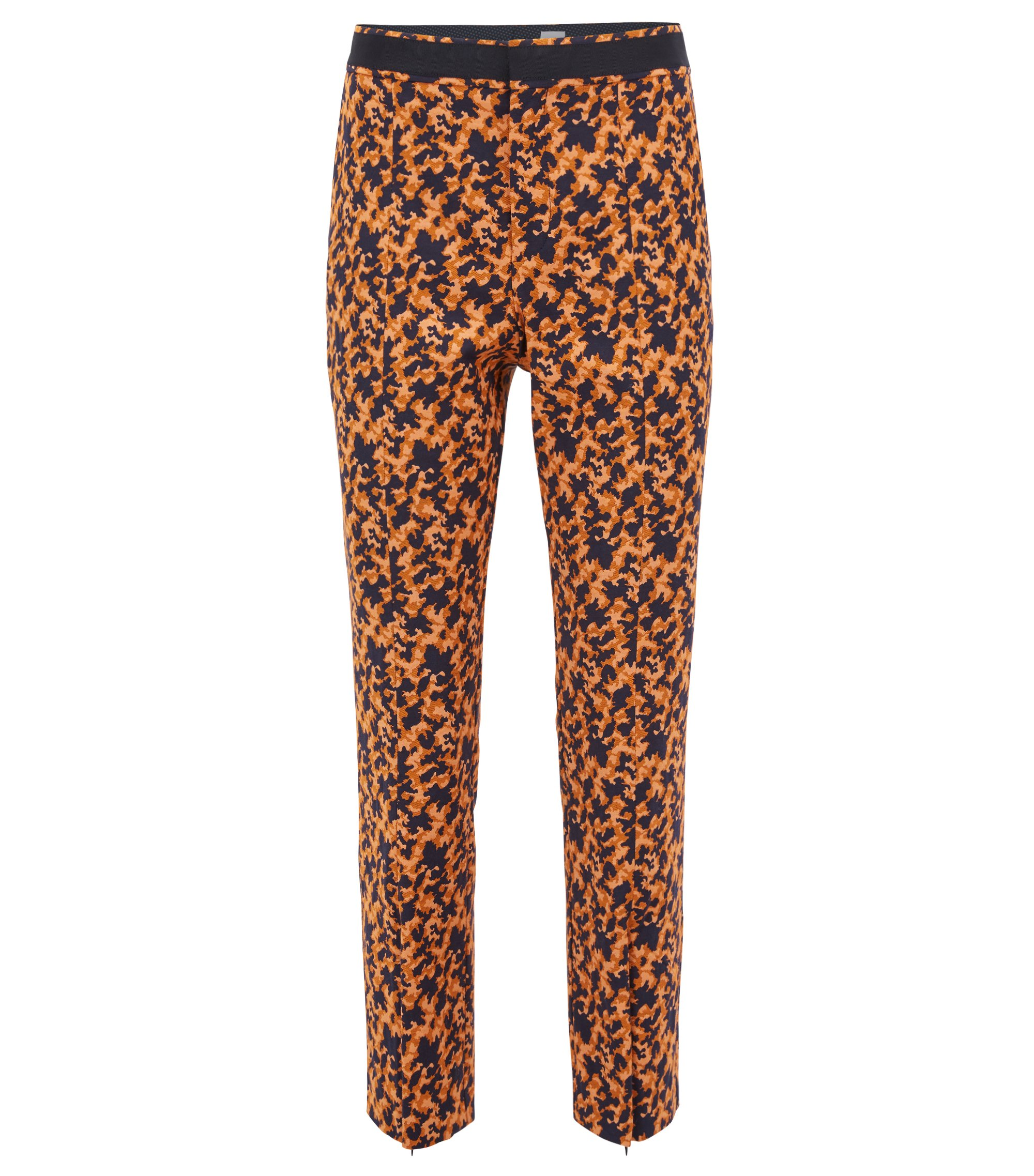 Regular-fit cropped trousers in puzzle-design stretch jacquard, Patterned
