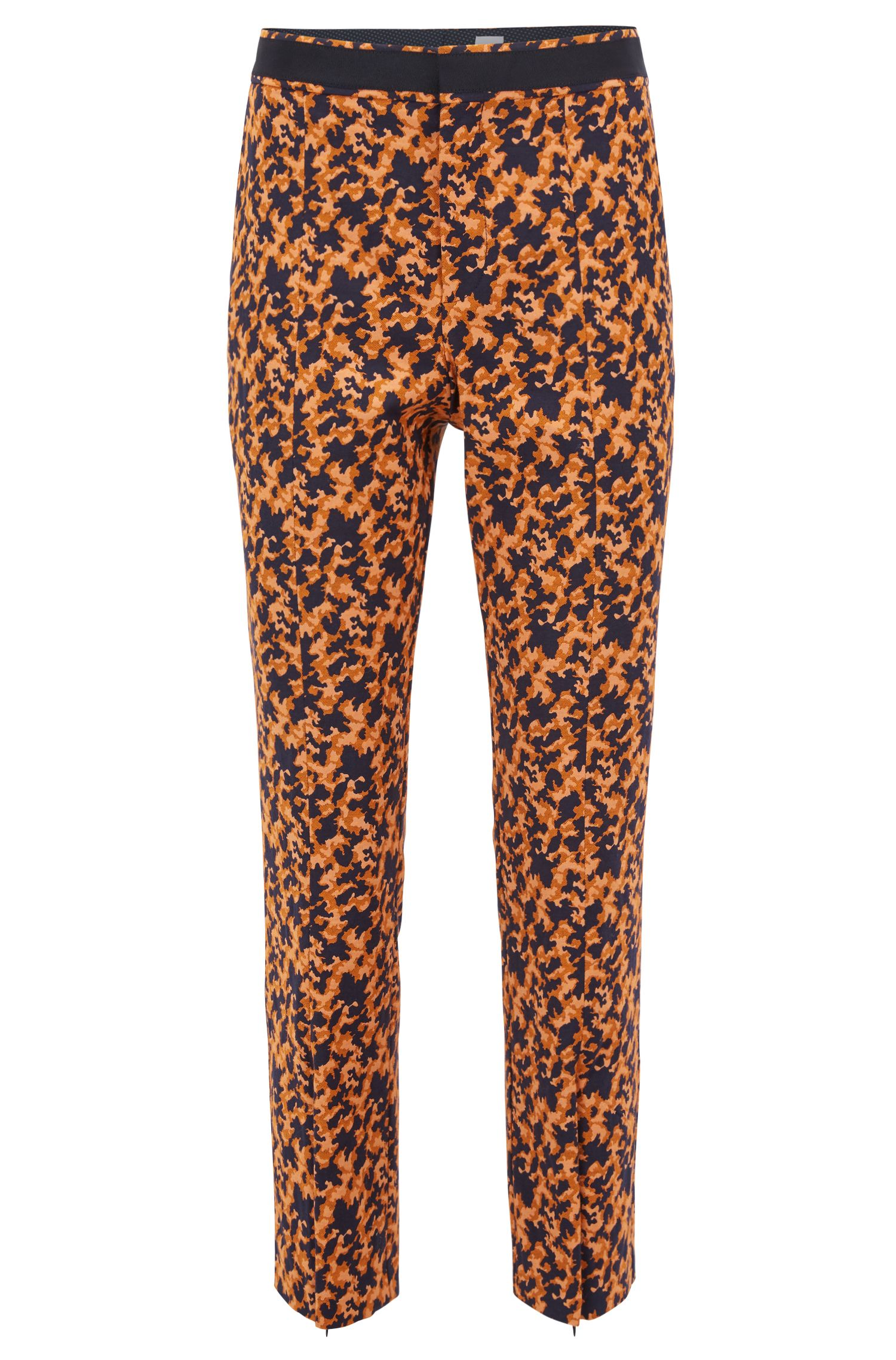 Regular-fit cropped trousers in puzzle-design stretch jacquard