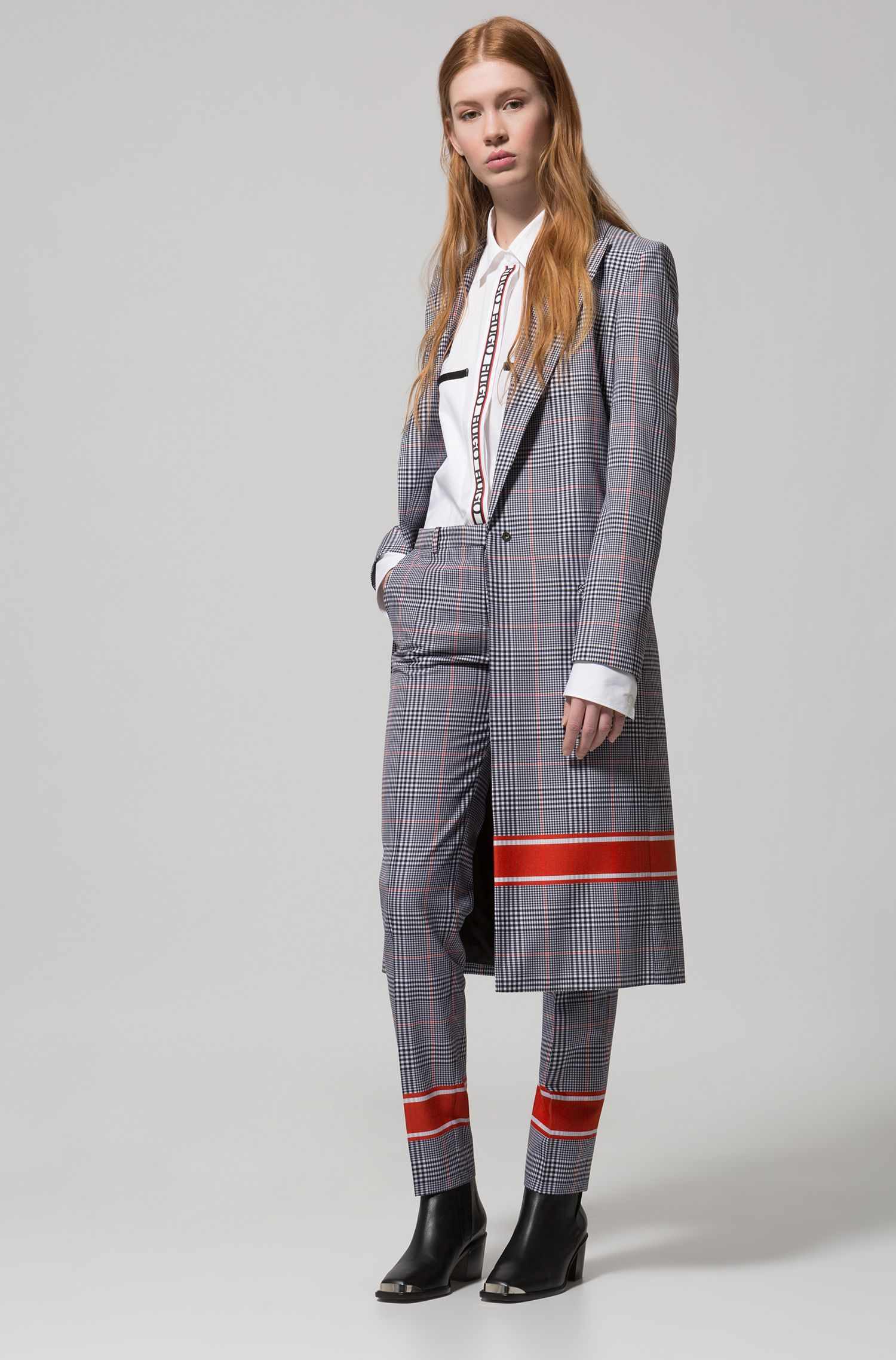 Relaxed-fit coat with plain check and contrast stripe