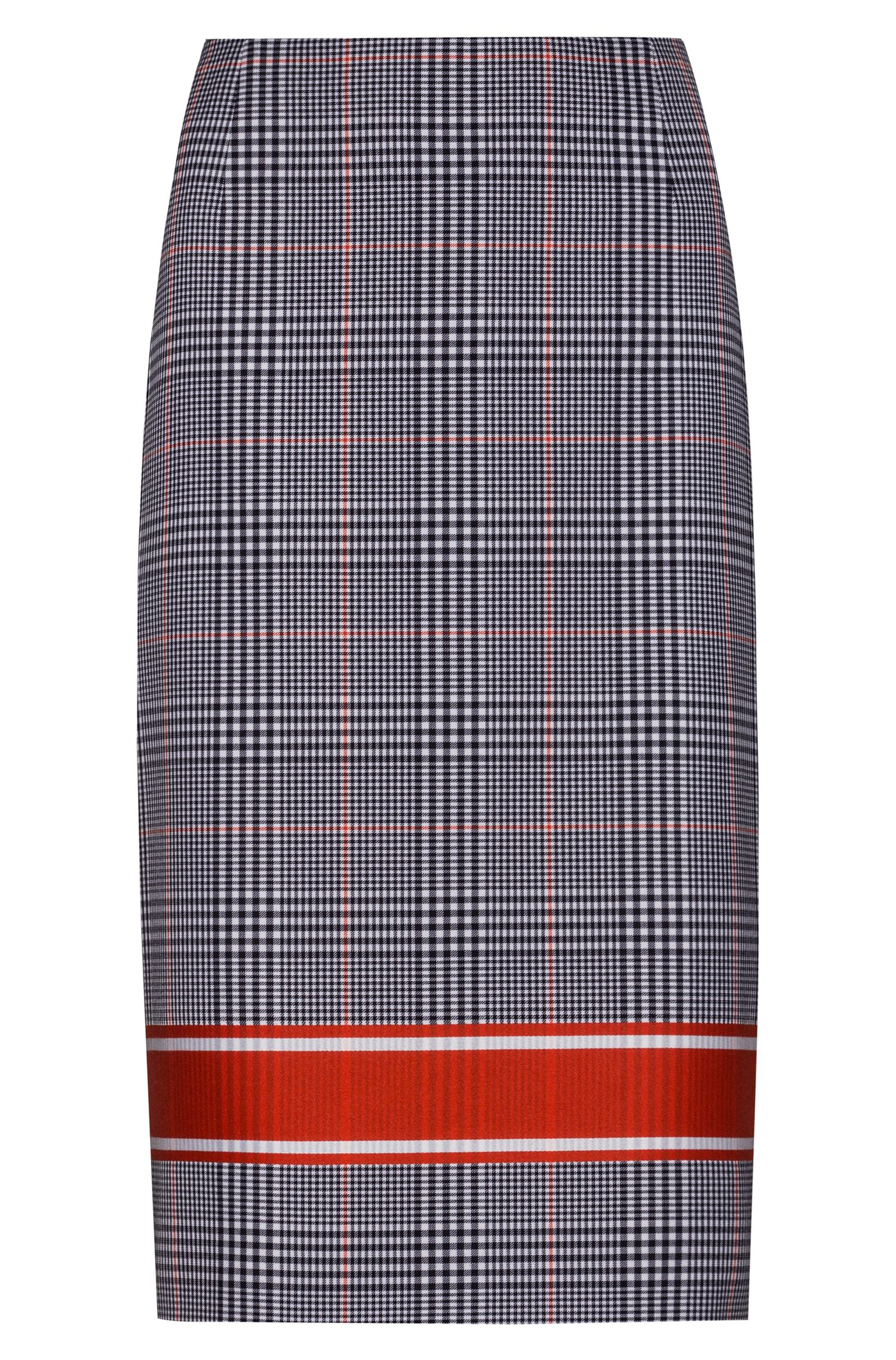 Plain-check pencil skirt with contrast stripe, Patterned