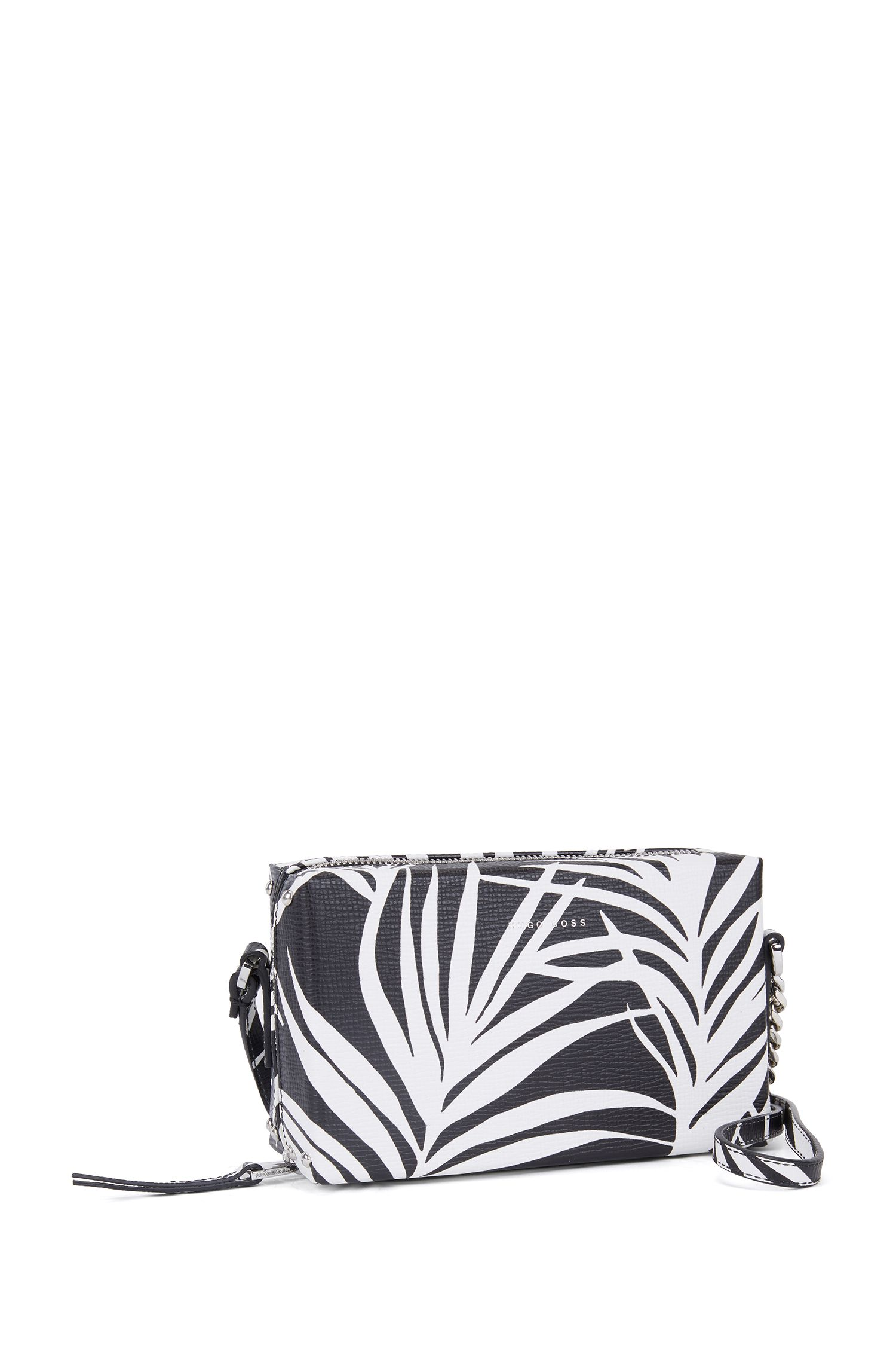Patterned cross-body bag in Italian calf leather